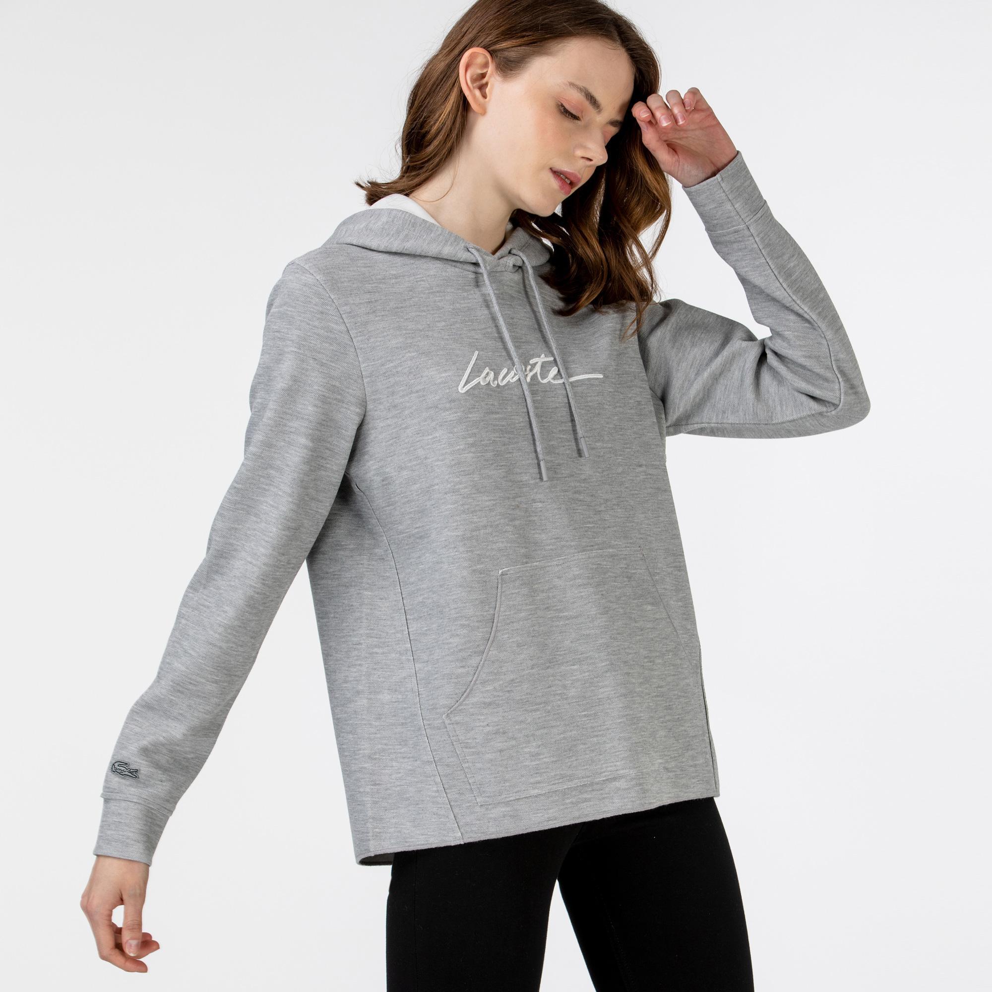 Lacoste Kadın Kapüşonlu Baskılı Gri Sweatshirt