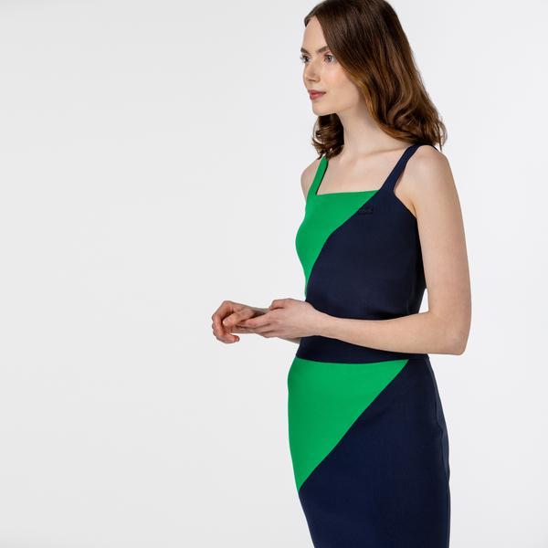Lacoste Kadın Kolsuz Askılı Renk Bloklu Lacivert - Yeşil Triko Kazak