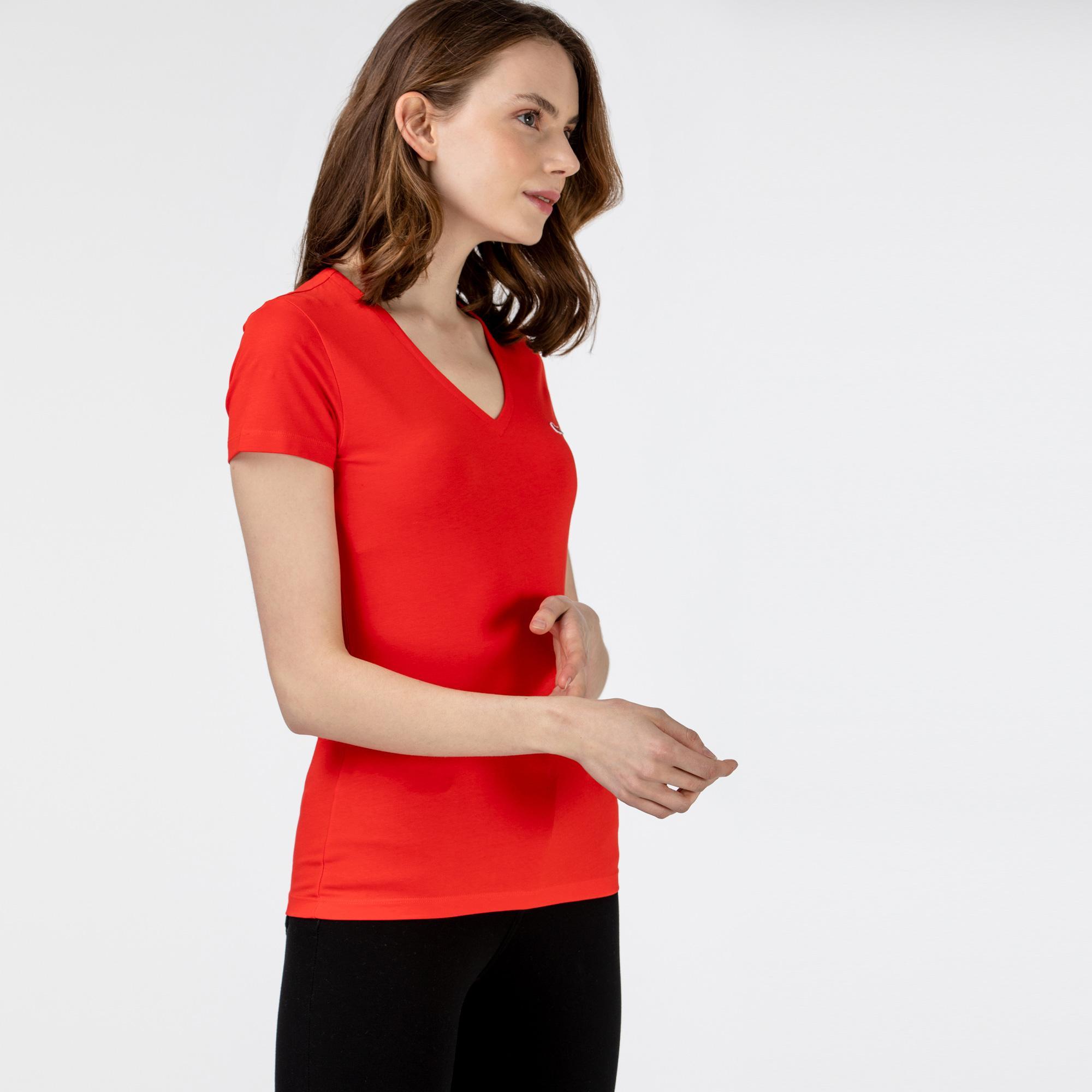 Lacoste Kadın Slim Fit V Yaka Kırmızı T-Shirt