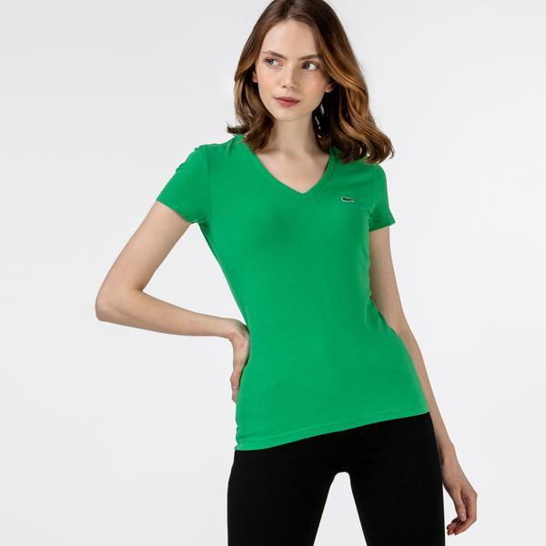 Lacoste Kadın Slim Fit V Yaka Yeşil T-Shirt