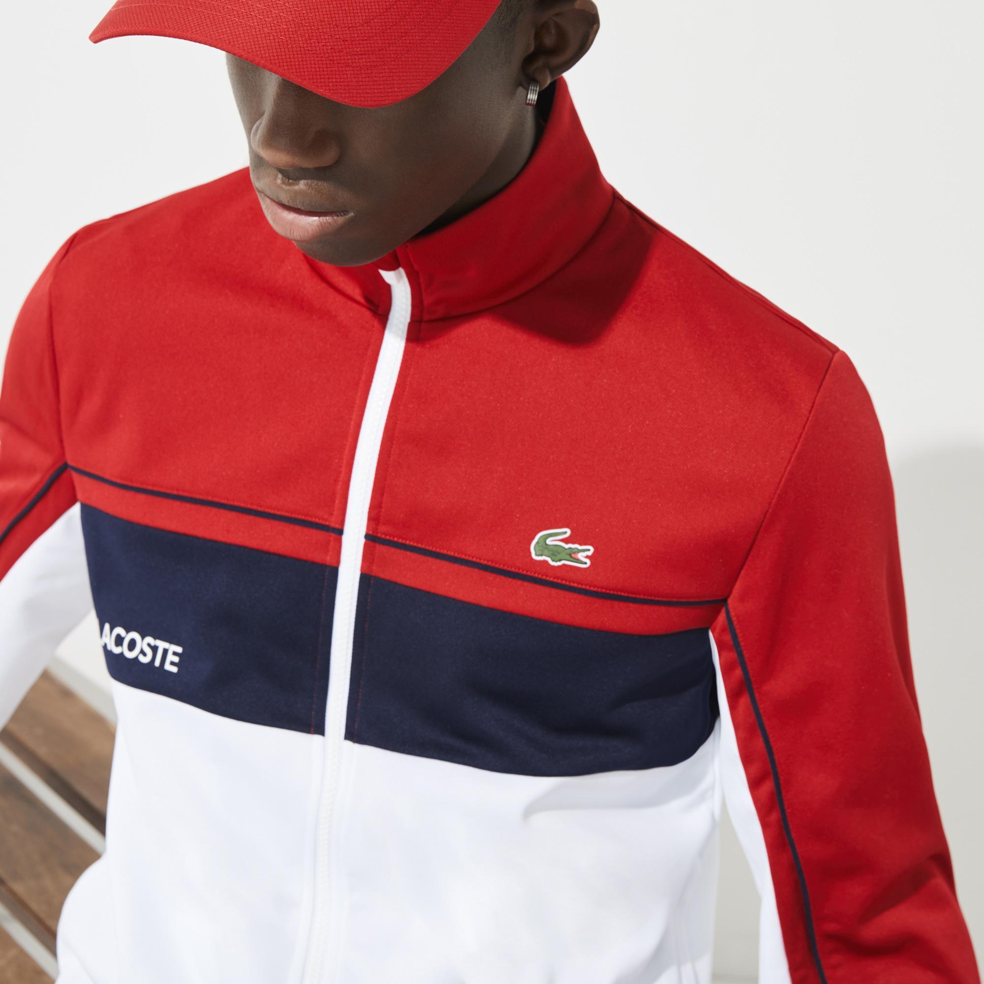 Lacoste Sport Erkek Fermuarlı Renk Bloklu Renkli Sweatshirt