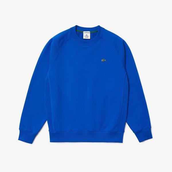 Lacoste L!ve Unisex Loose Fit Bisiklet Yaka Saks Mavi Sweatshirt