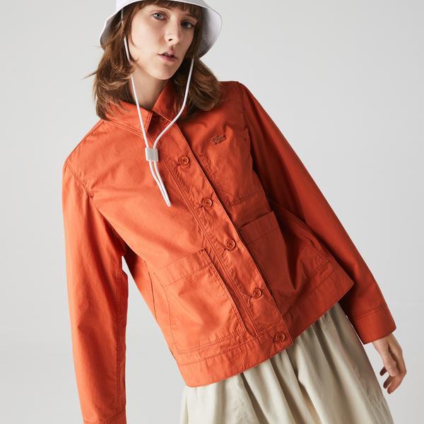 Lacoste Kadın Gömlek Yaka Turuncu Ceket