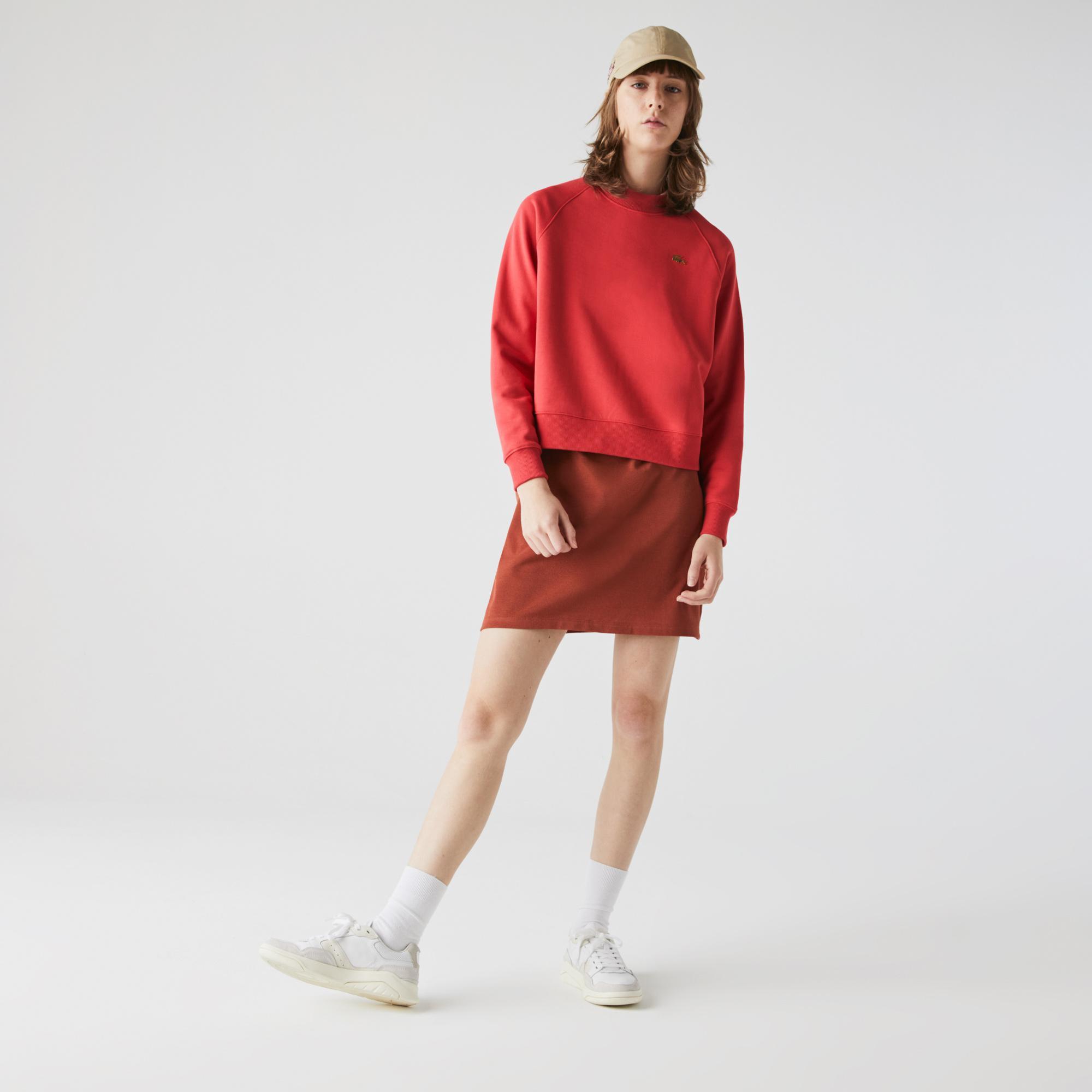 Lacoste L!ve Kadın Boxy Fit Bisiklet Yaka Kırmızı Sweatshirt