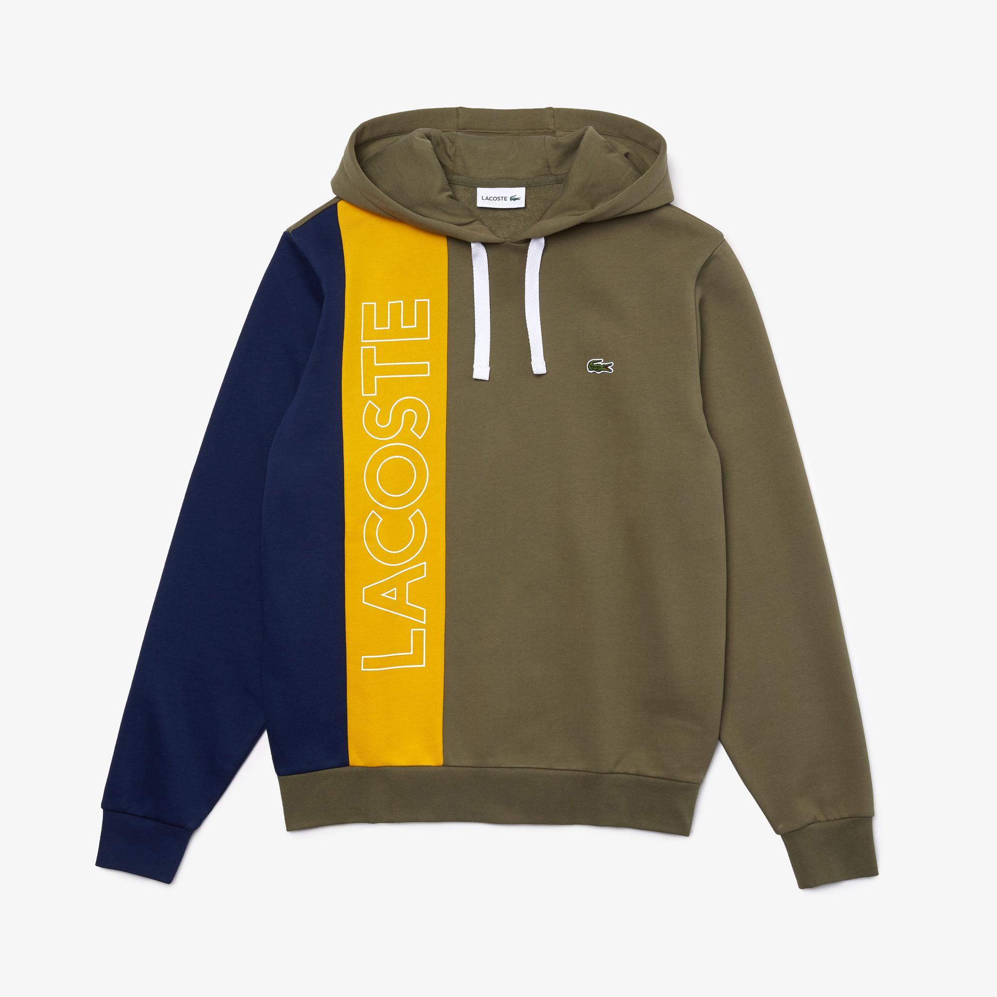 Lacoste Erkek Kapüşonlu Renk Bloklu Baskılı Renkli Sweatshirt