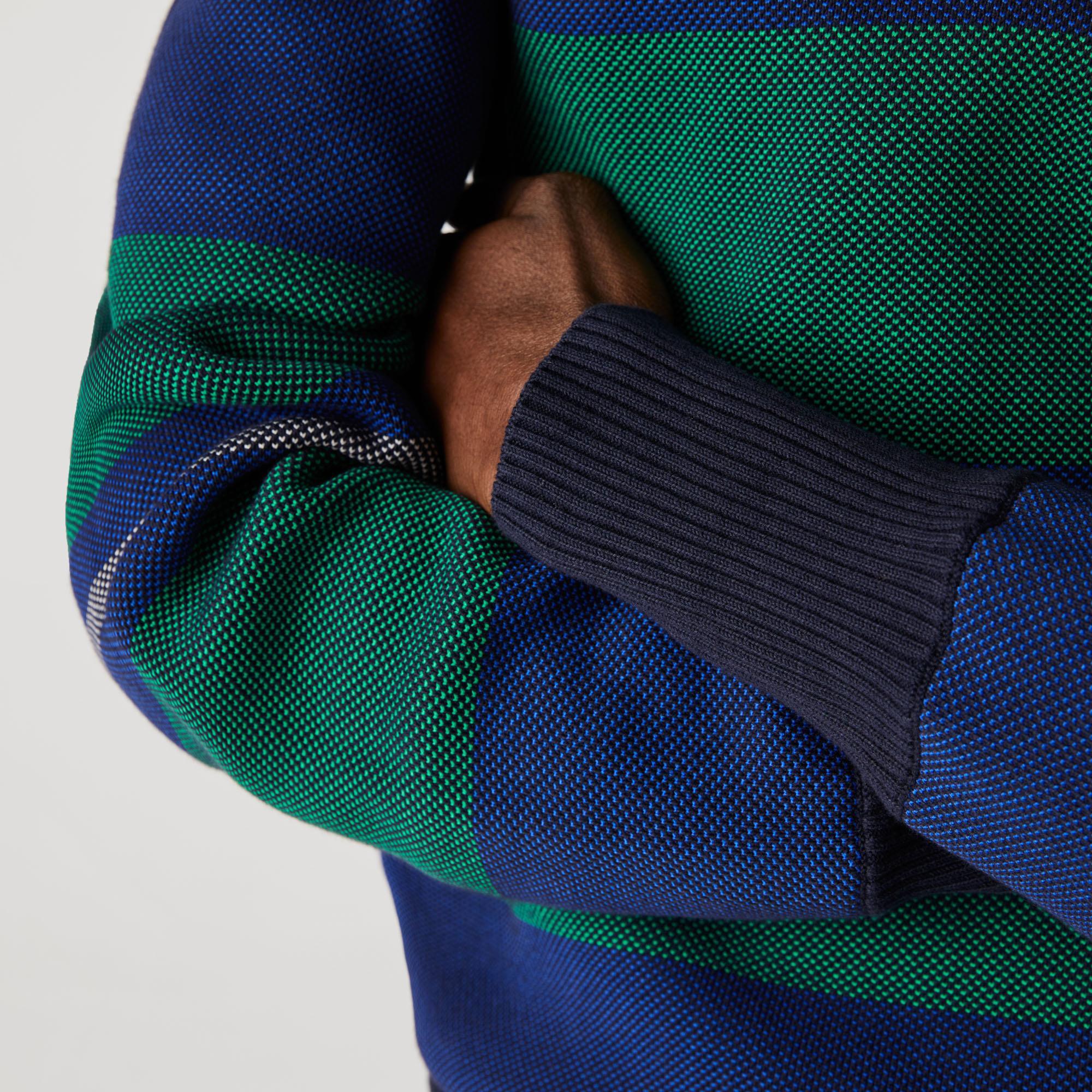 Lacoste Erkek Polo Yaka Çizgili Renk Bloklu Renkli Triko Kazak