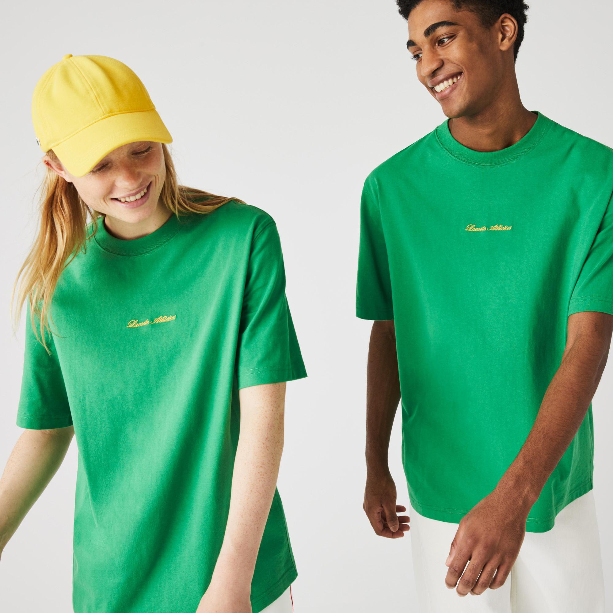Lacoste L!ve Unisex Loose Fit Bisiklet Yaka Baskılı Yeşil T-Shirt