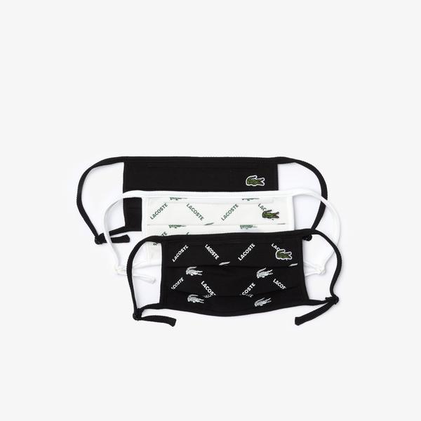 Lacoste Pamuklu Yıkanabilir Siyah - Beyaz Baskılı 3'lü Maske