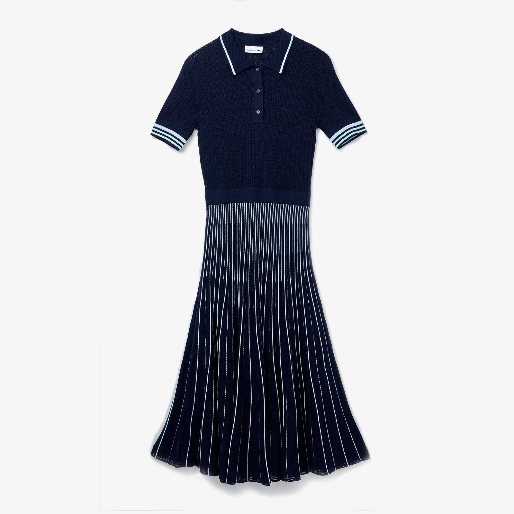 Lacoste Kadın Kısa Kollu Çizgili Polo Yaka Lacivert Elbise