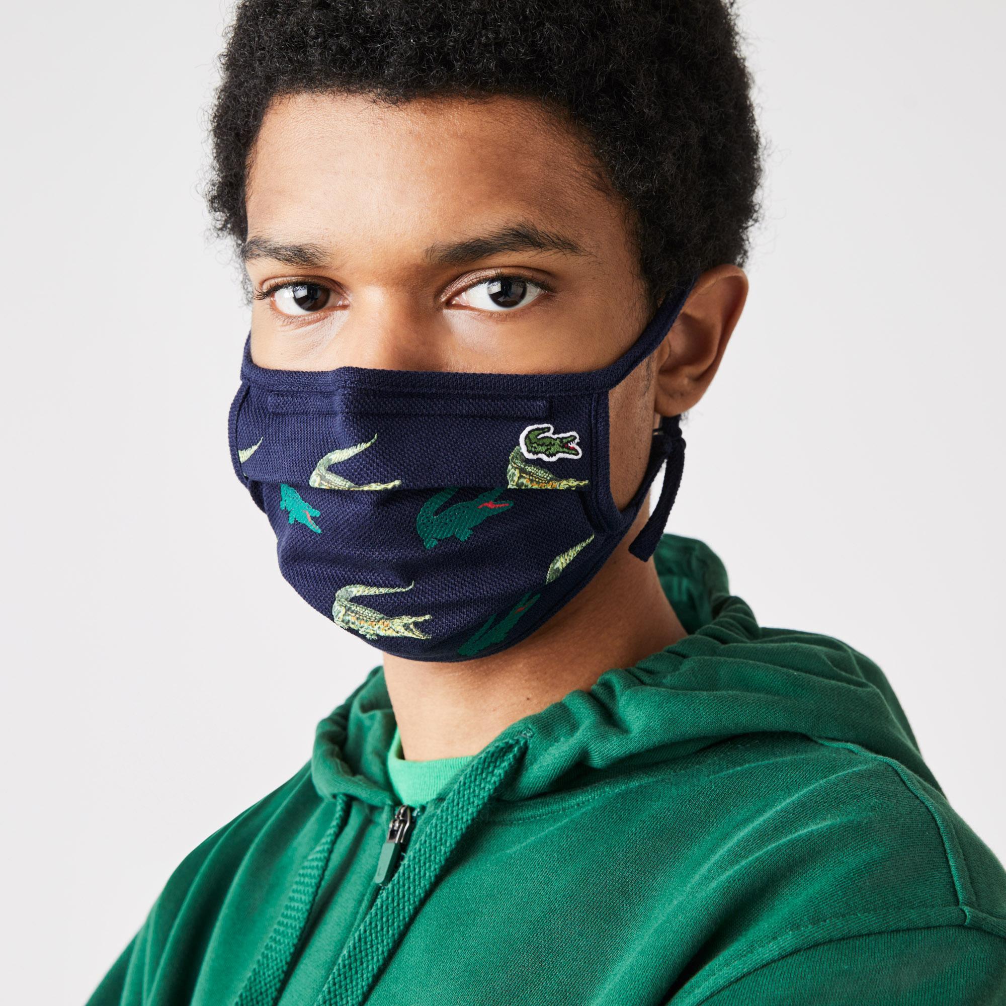 Lacoste Pamuklu Yıkanabilir Baskılı Lacivert Maske