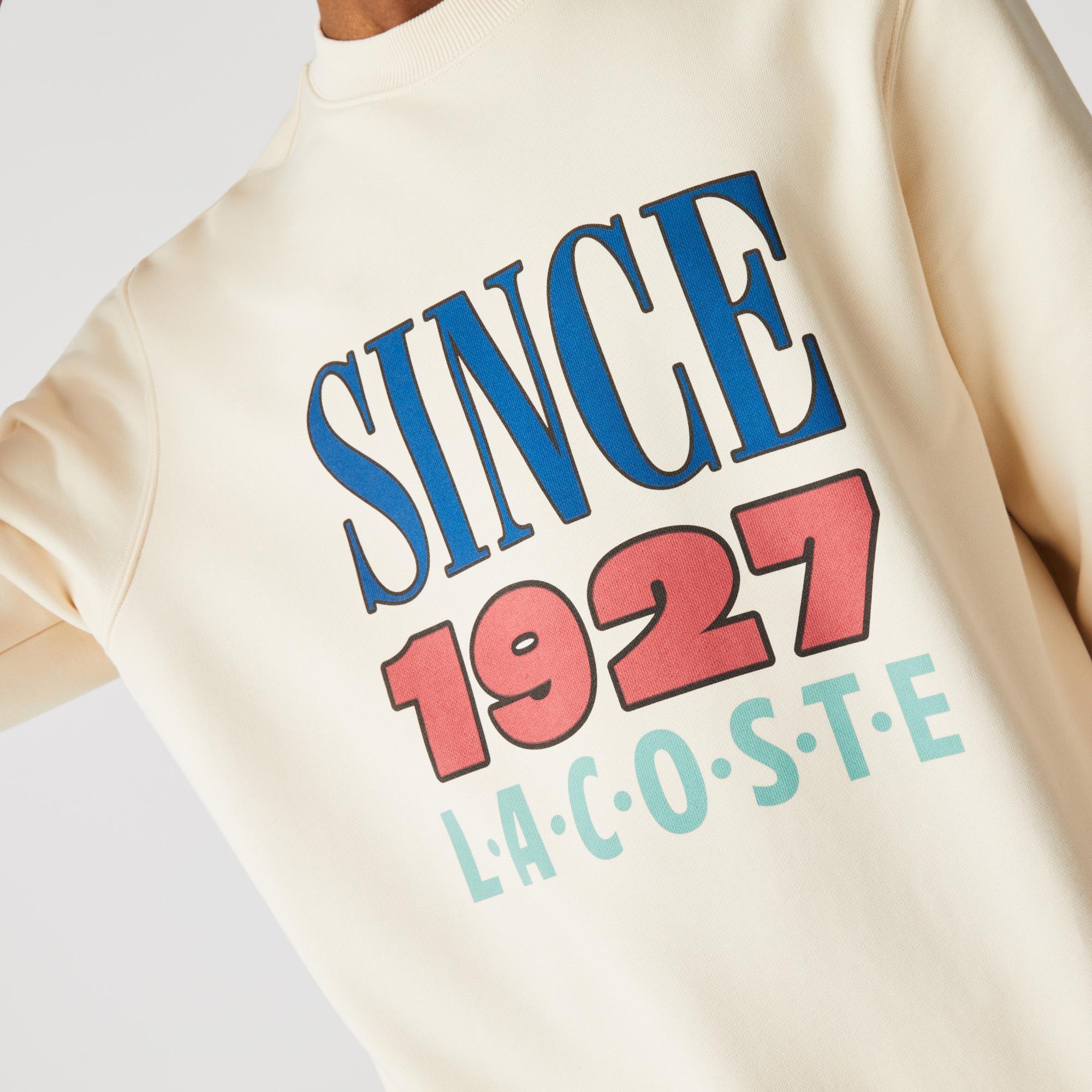 Lacoste L!ve Unisex Baskılı Bej Sweatshirt