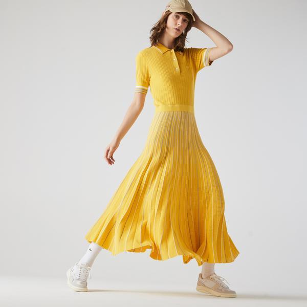 Lacoste Kadın Kısa Kollu Çizgili Polo Yaka Sarı Elbise