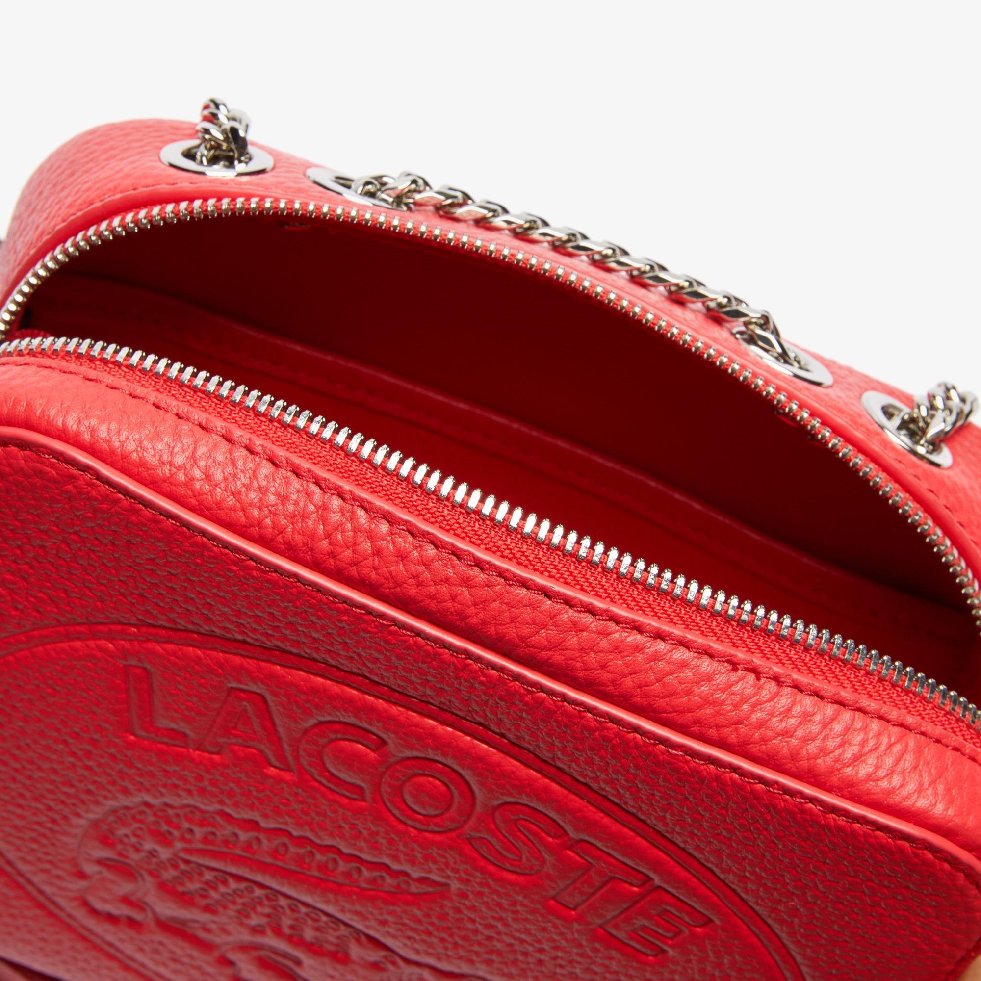 Lacoste Croco Crew Kadın Baskılı Deri Kırmızı Çanta