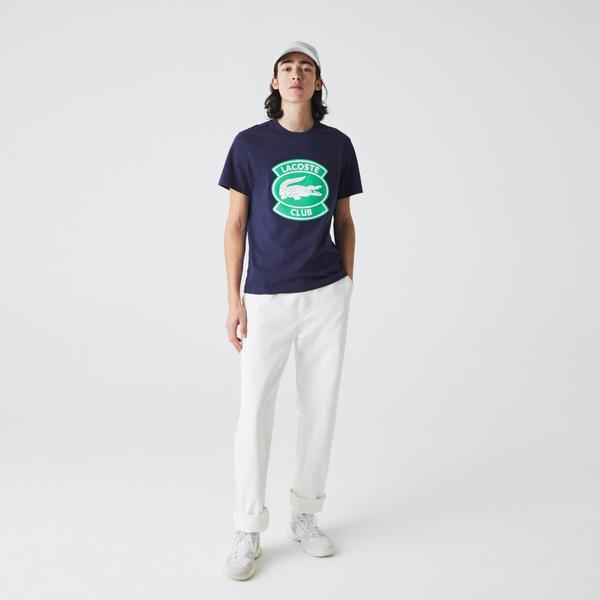 Lacoste Erkek Regular Fit Bisiklet Yaka Timsah Baskılı Lacivert T-Shirt