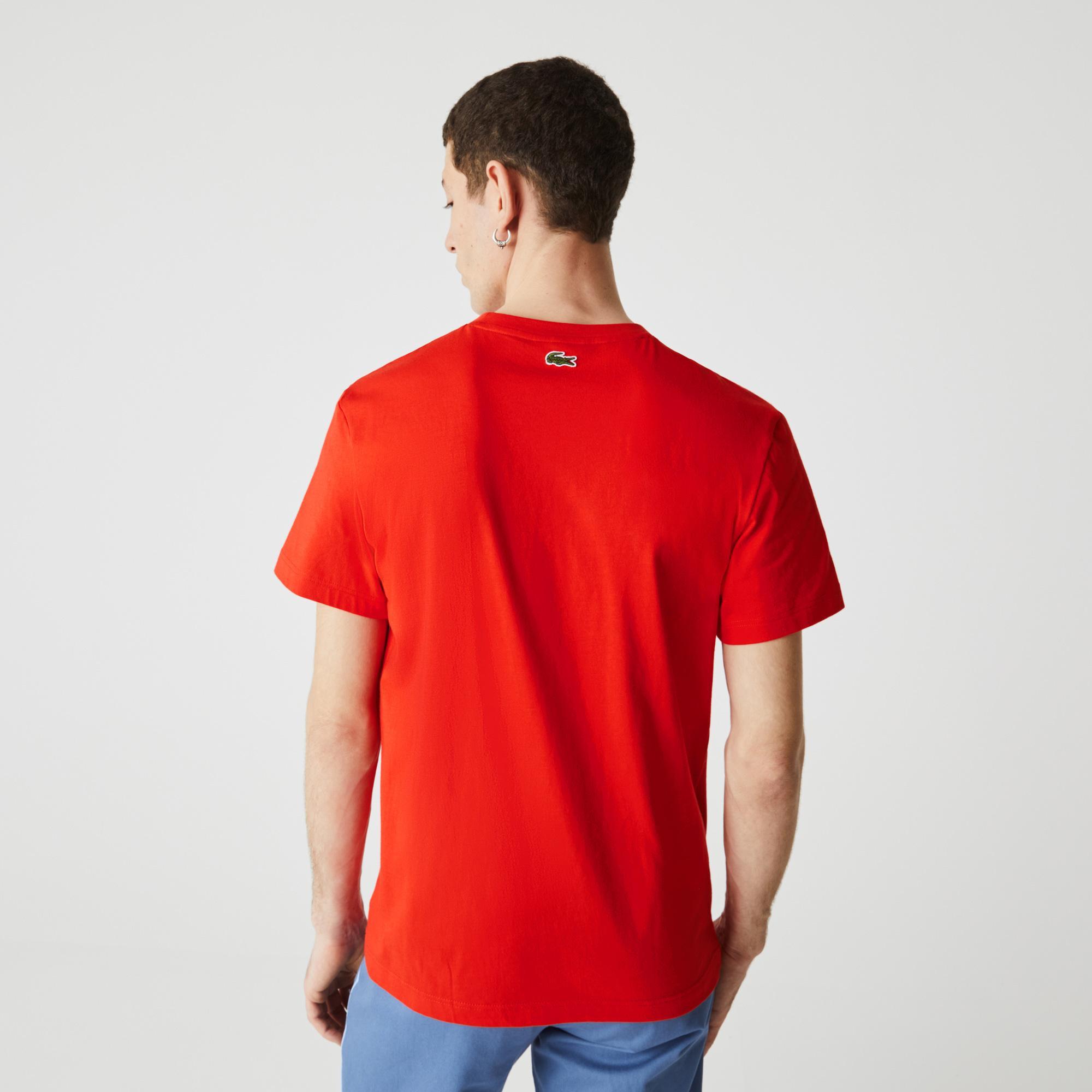 Lacoste Erkek Regular Fit Bisiklet Yaka Timsah Baskılı Kırmızı T-Shirt