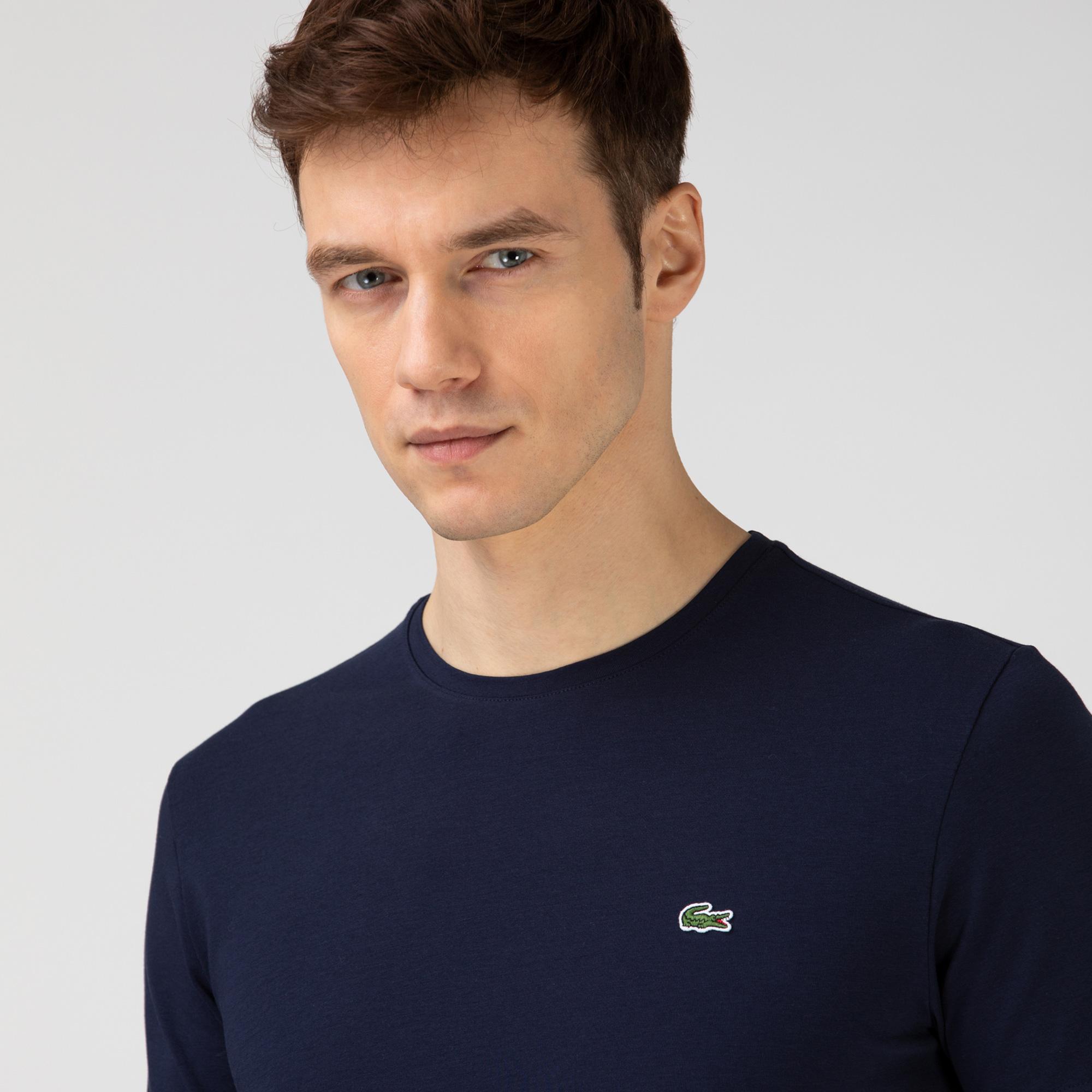 Lacoste Erkek Bisiklet Yaka Lacivert T-Shirt