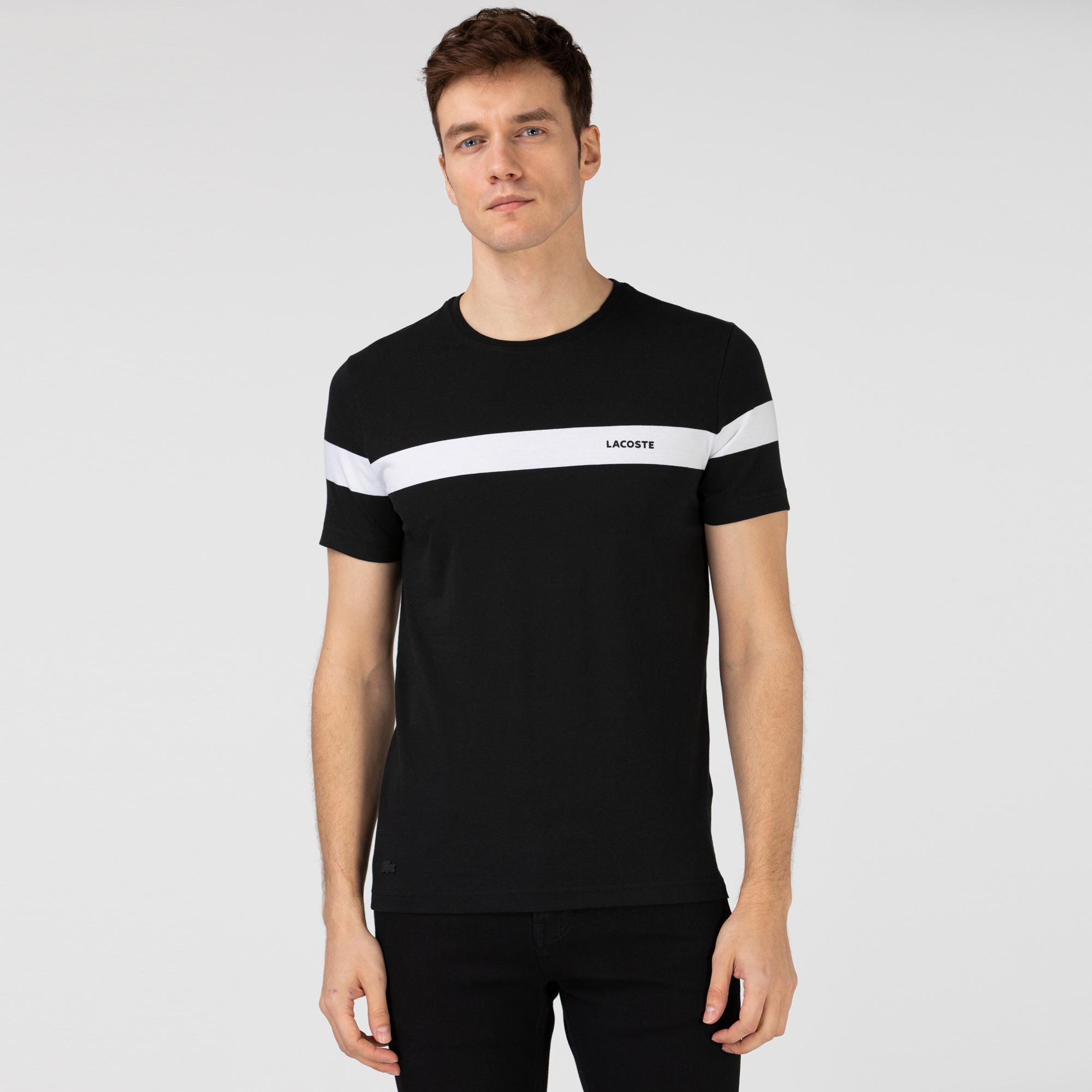 Lacoste Erkek Bisiklet Yaka Çizgili Siyah T-Shirt
