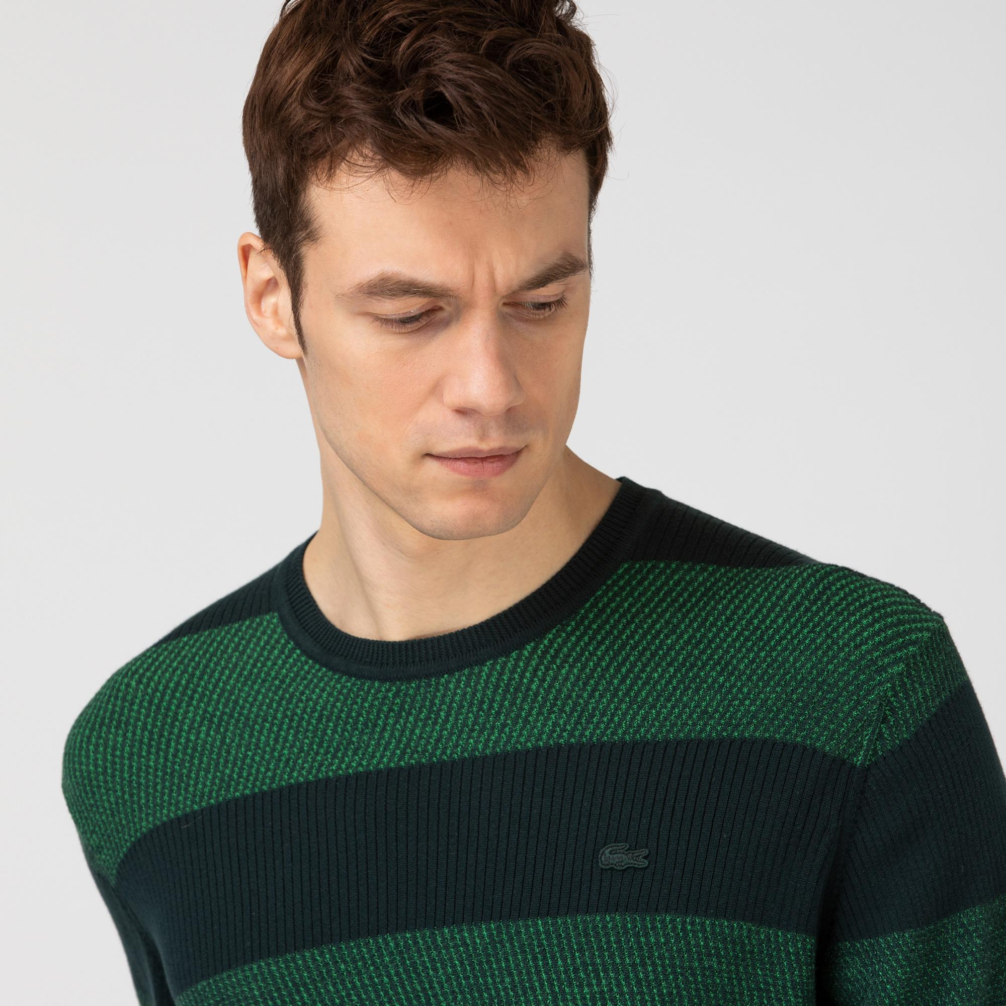 Lacoste Erkek Yeşil Renk Bloklu Triko Kazak
