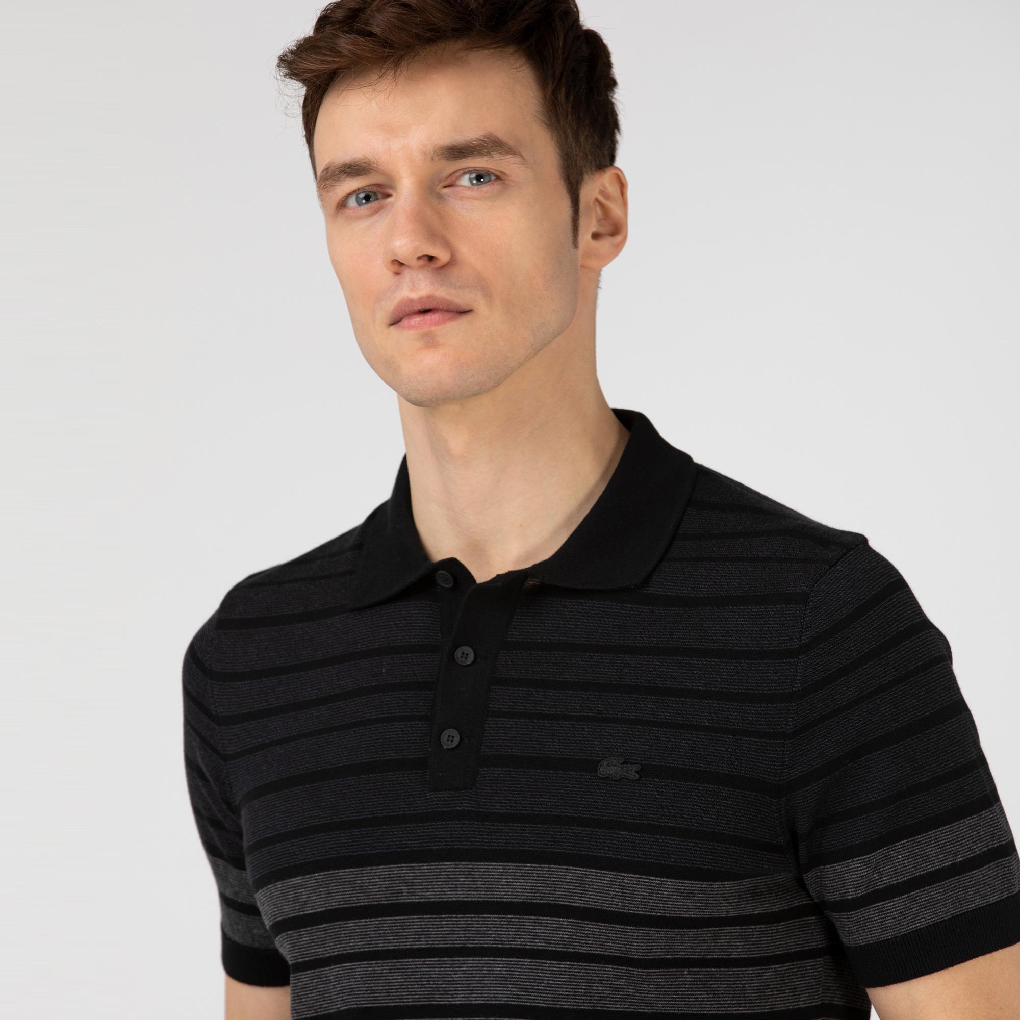 Lacoste Erkek Regular Fit Çizgili Siyah Polo