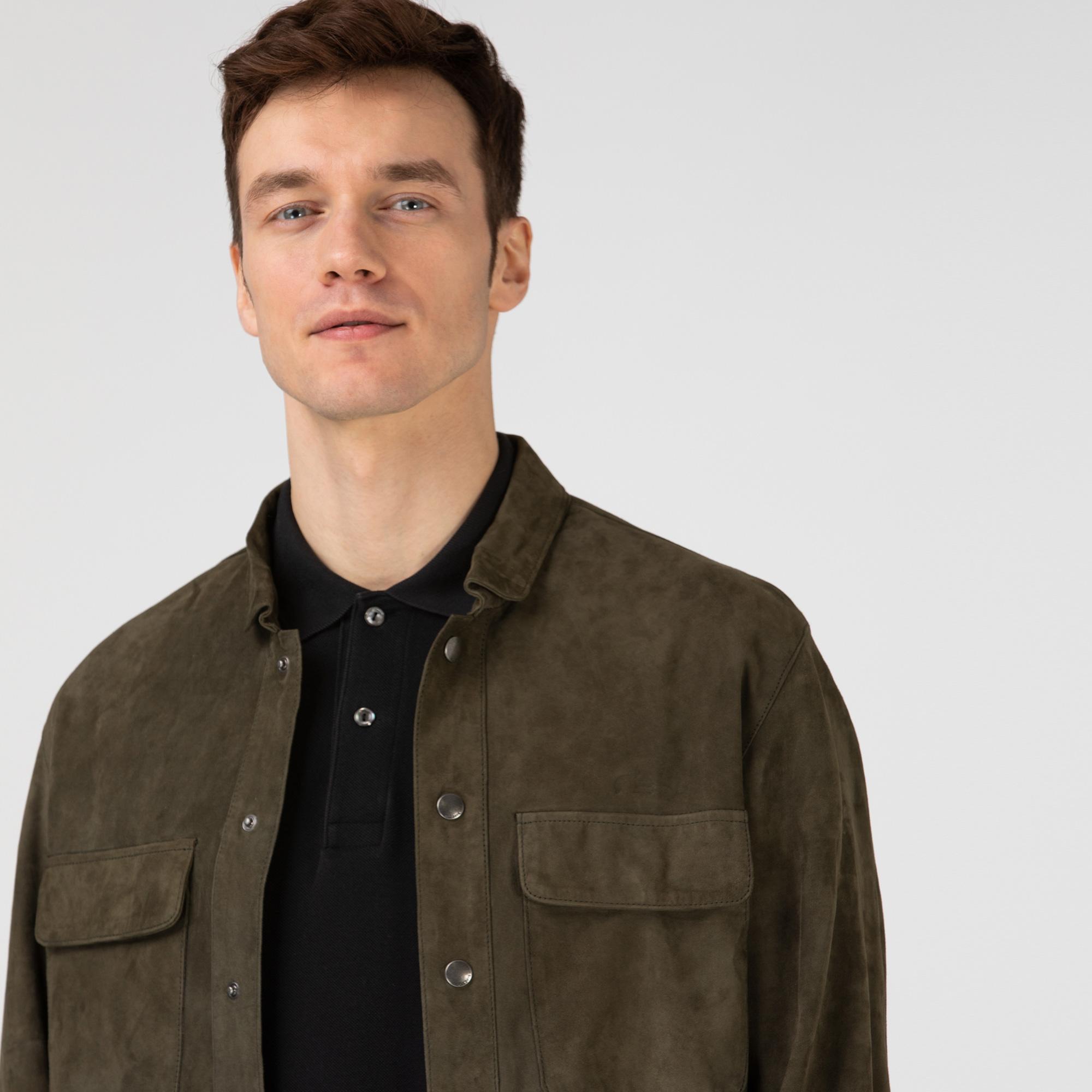 Lacoste Erkek Gömlek Yaka Deri Haki Ceket