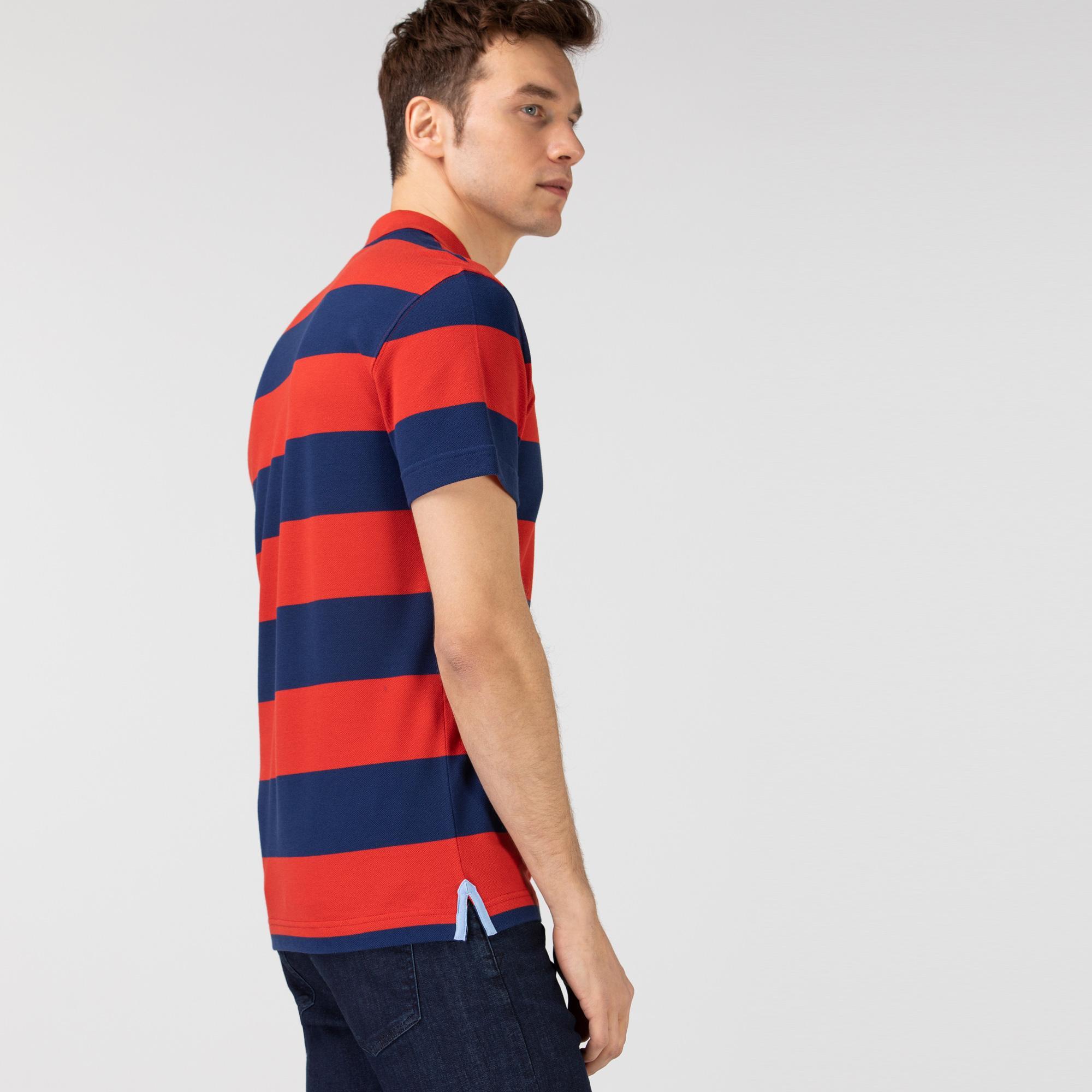 Lacoste Erkek Regular Fit Çizgili Lacivert - Kırmızı Polo