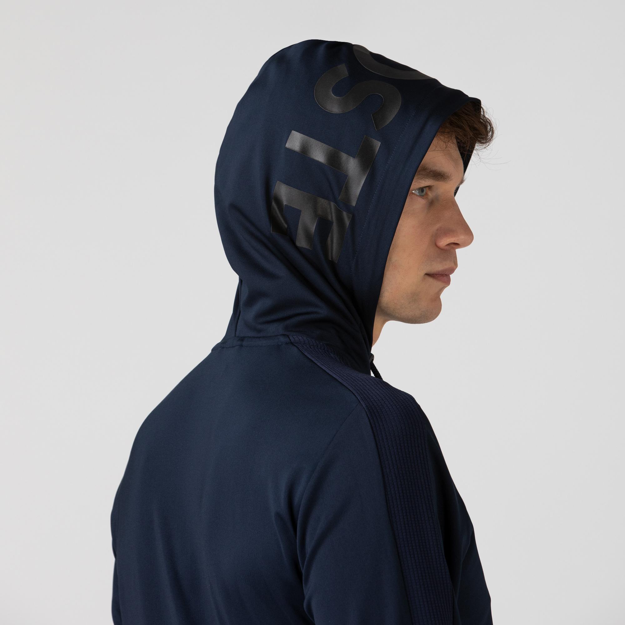 Lacoste Erkek Fermuarlı Kapüşonlu Baskılı Lacivert Sweatshirt