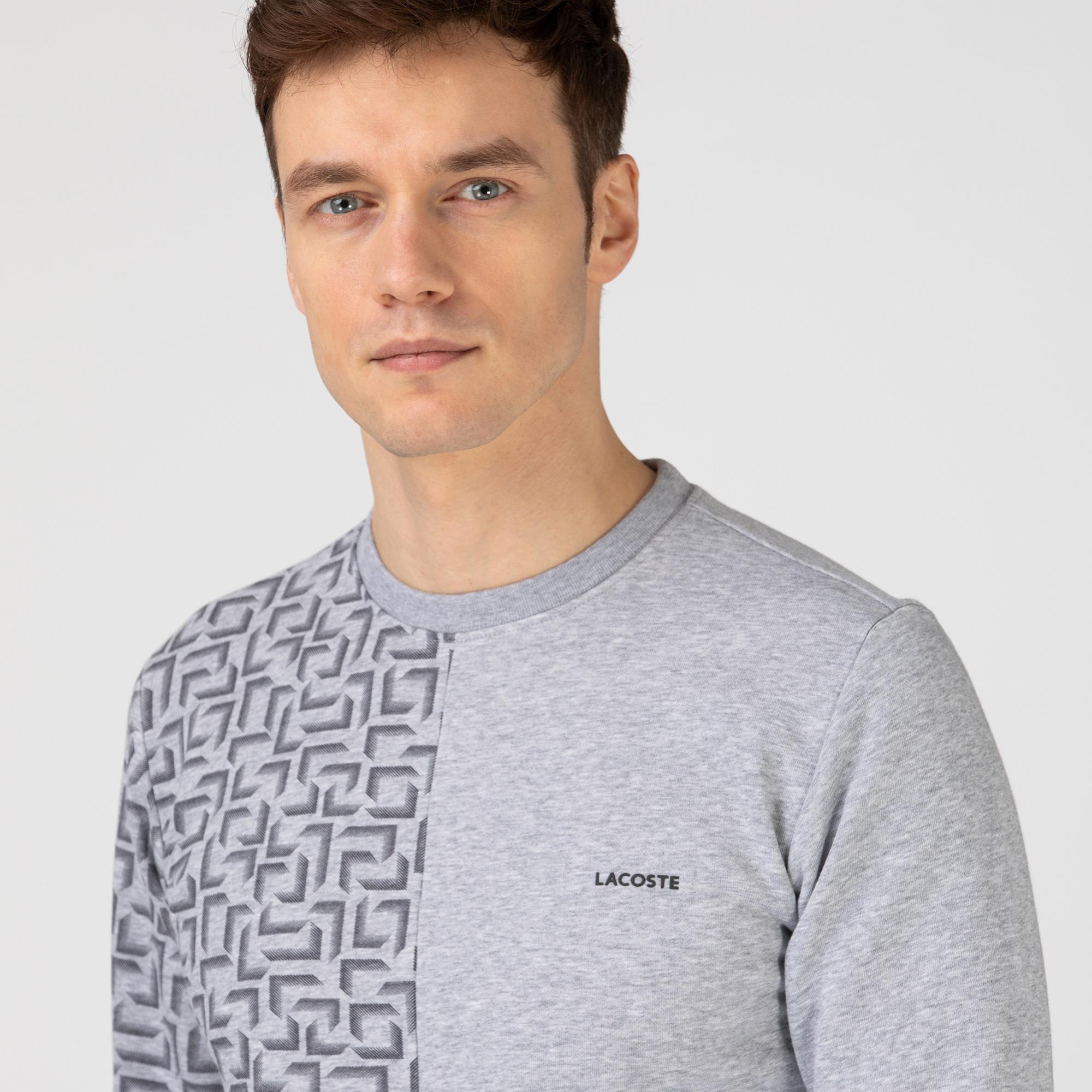 Lacoste Erkek Bisiklet Yaka Desenli Gri Sweatshirt