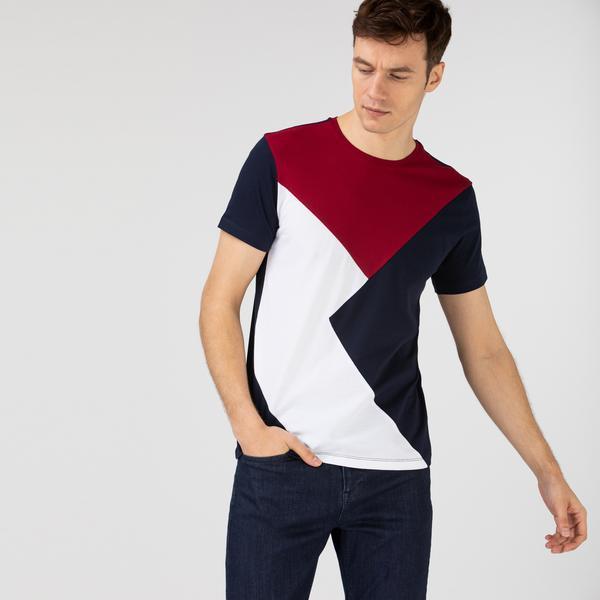 Lacoste Erkek Regular Fit Bisiklet Yaka Blok Desenli Renkli T-Shirt