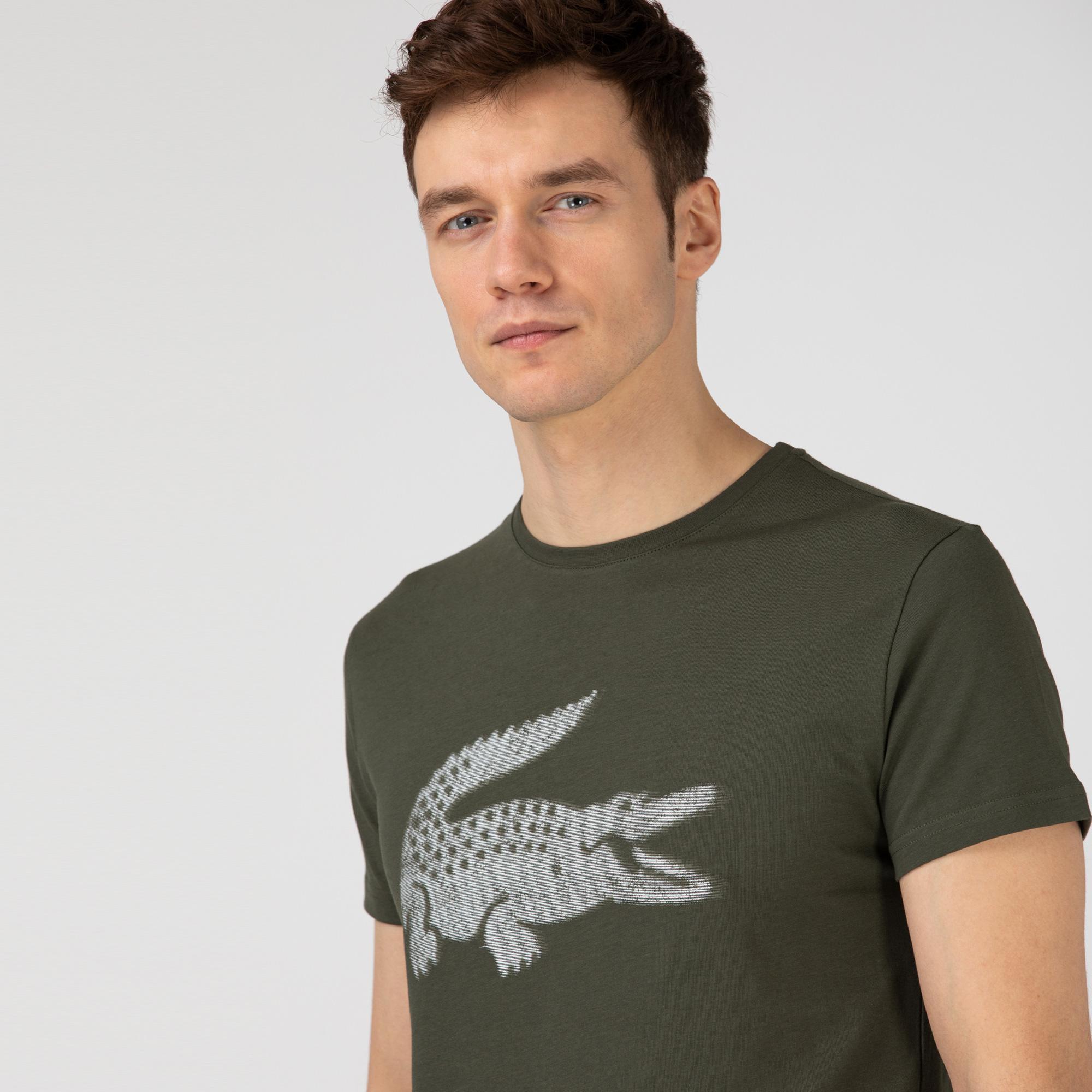 Lacoste Erkek Slim Fit Bisiklet Yaka Baskılı Haki T-Shirt