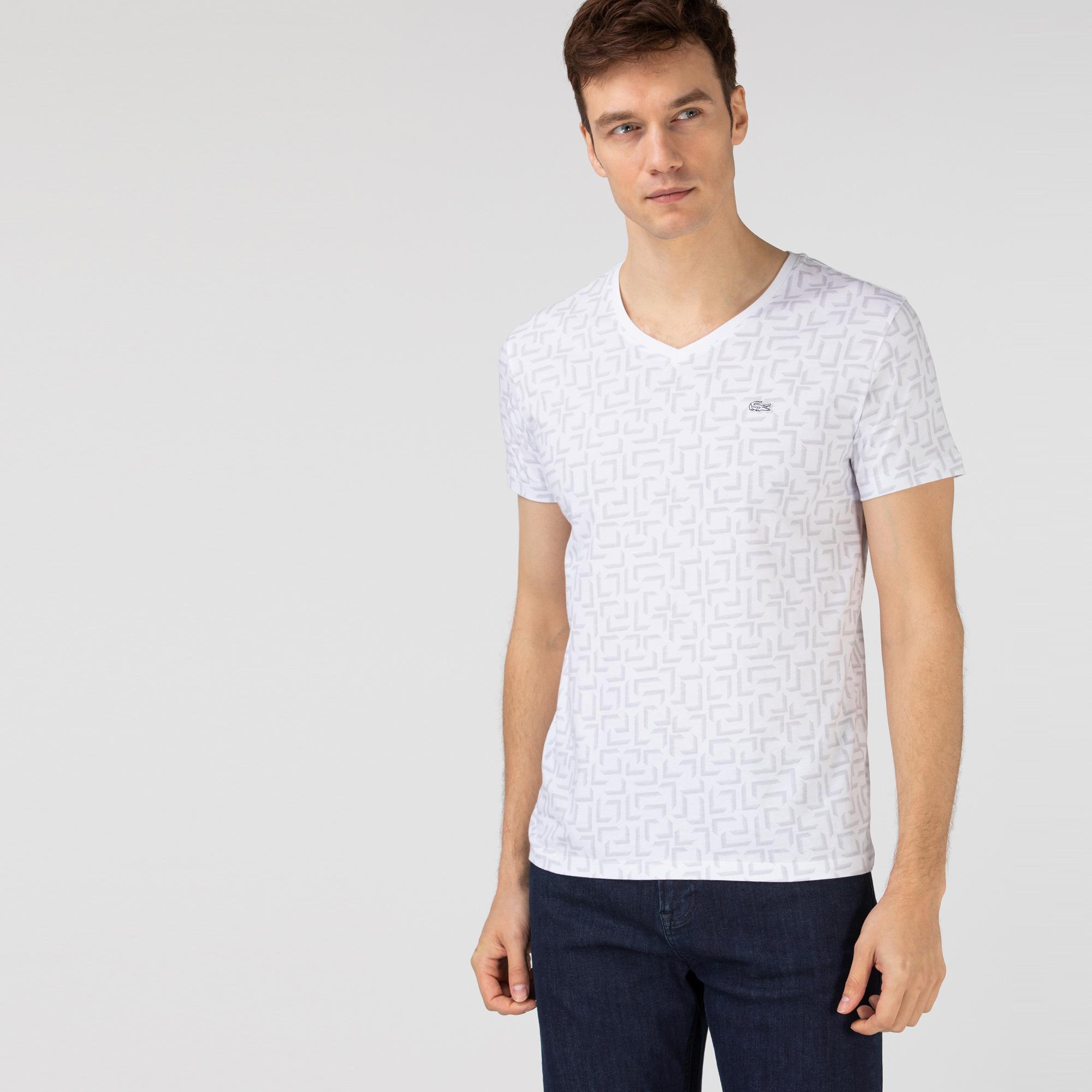 Lacoste Erkek Slim Fit V Yaka Desenli Beyaz T-Shirt