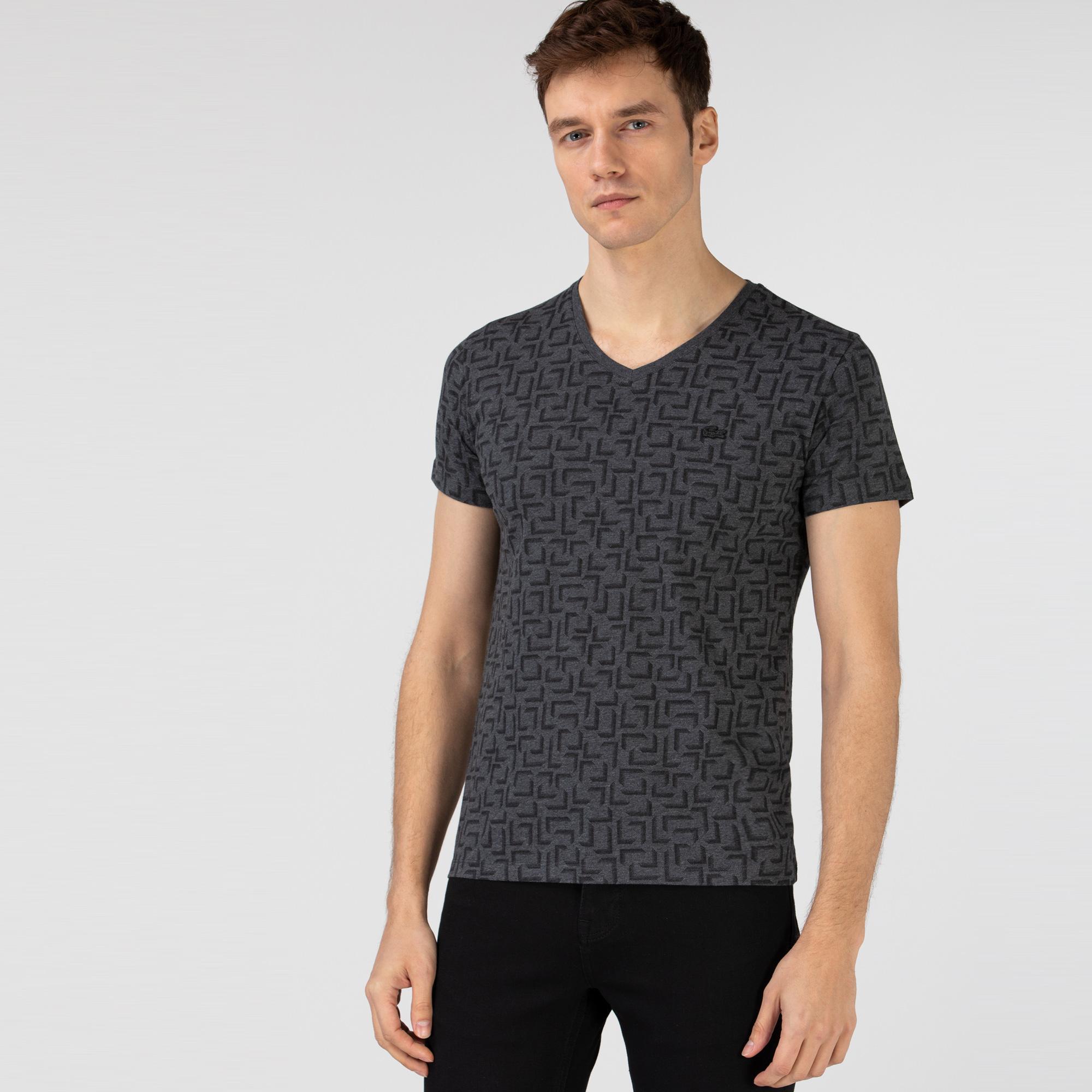 Lacoste Erkek Slim Fit V Yaka Desenli Gri T-Shirt