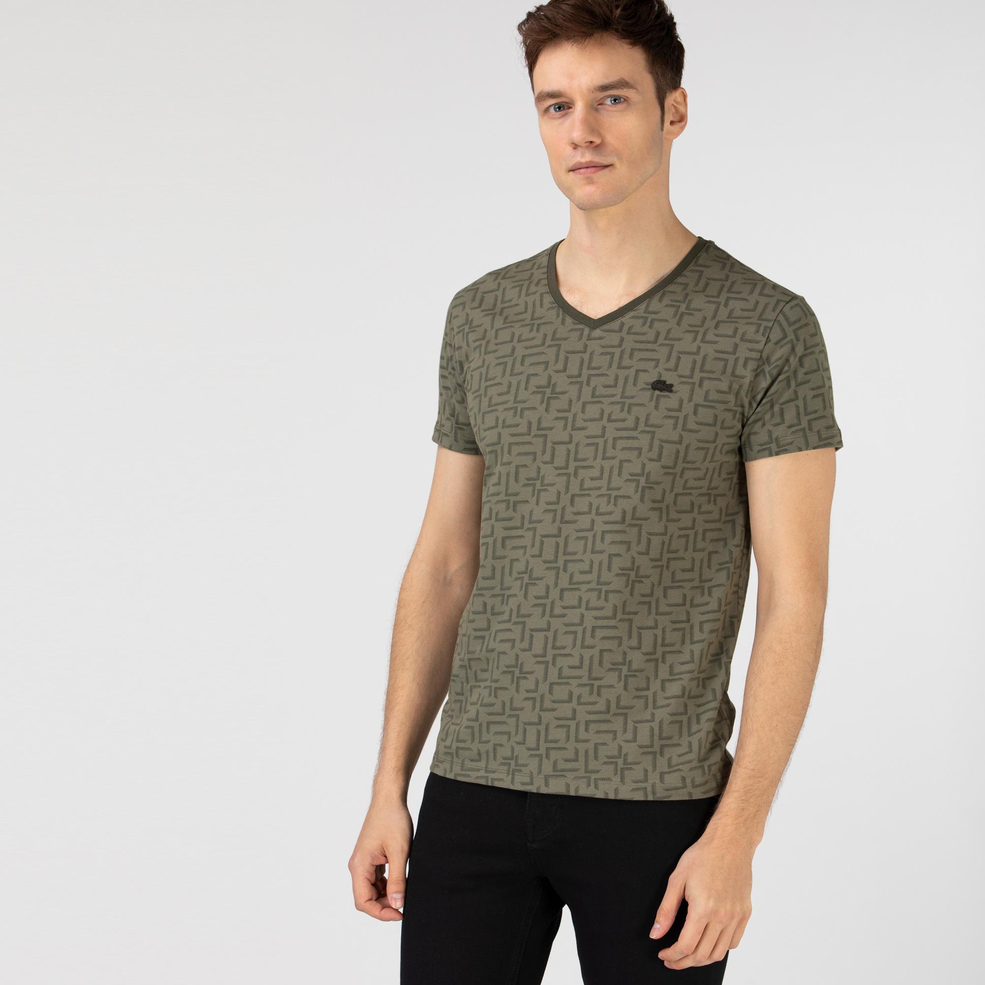 Lacoste Erkek Slim Fit V Yaka Desenli Haki T-Shirt