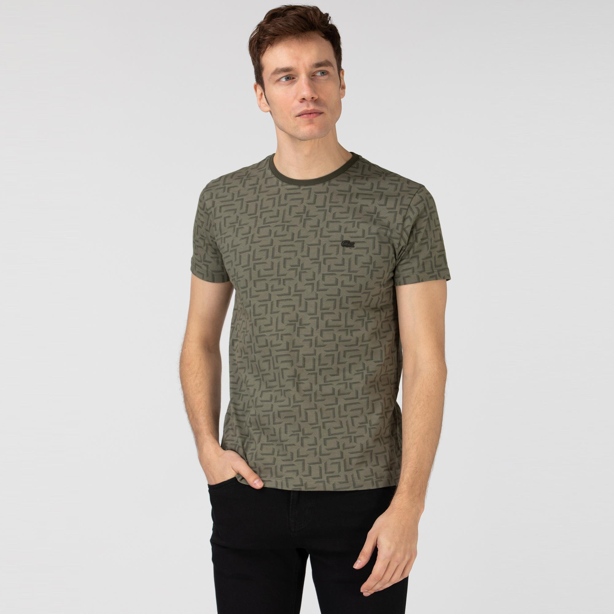 Lacoste Erkek Slim Fit Bisiklet Yaka Desenli Haki T-Shirt