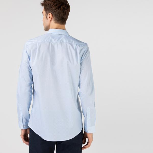 Lacoste Erkek Slim Fit Baskılı Açık Mavi Gömlek