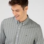 Lacoste Erkek Slim Fit Desenli Haki Gömlek