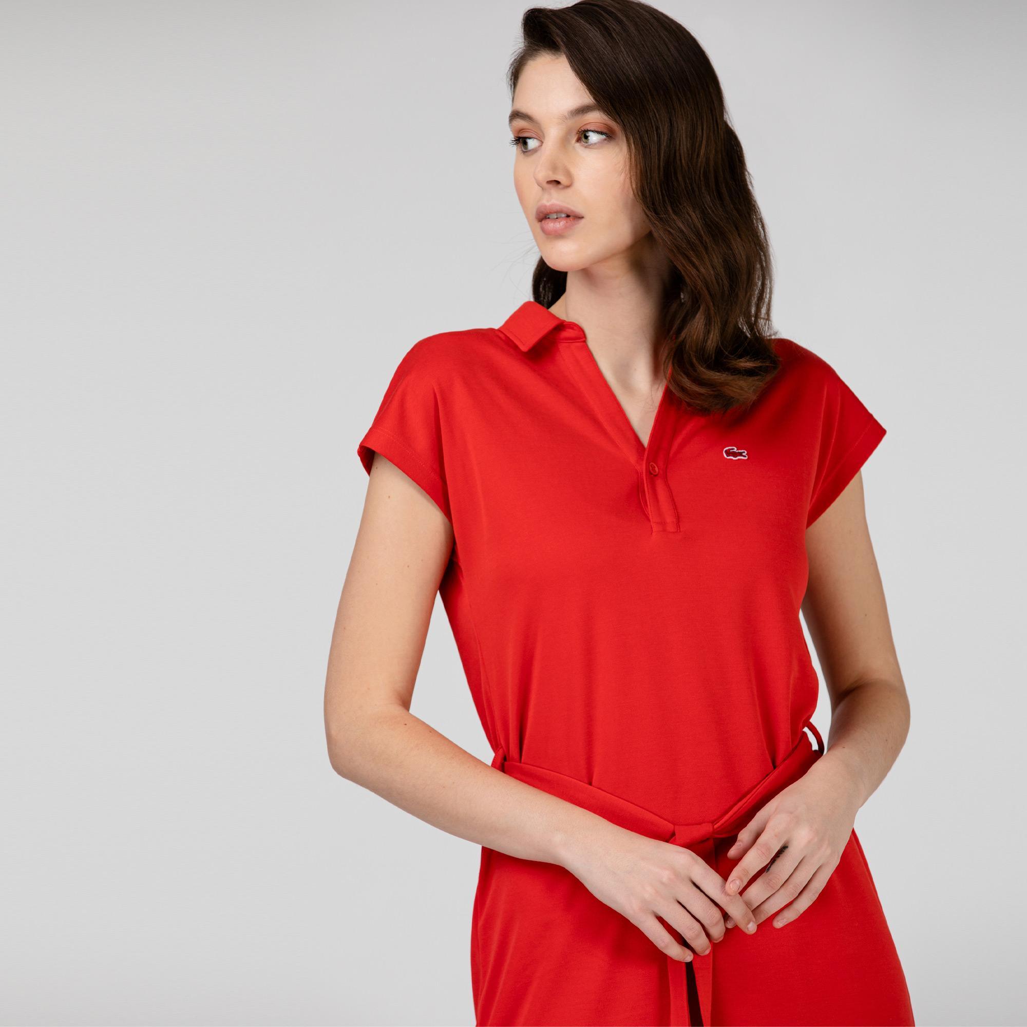Lacoste Kadın Kısa Kollu Kırmızı Elbise