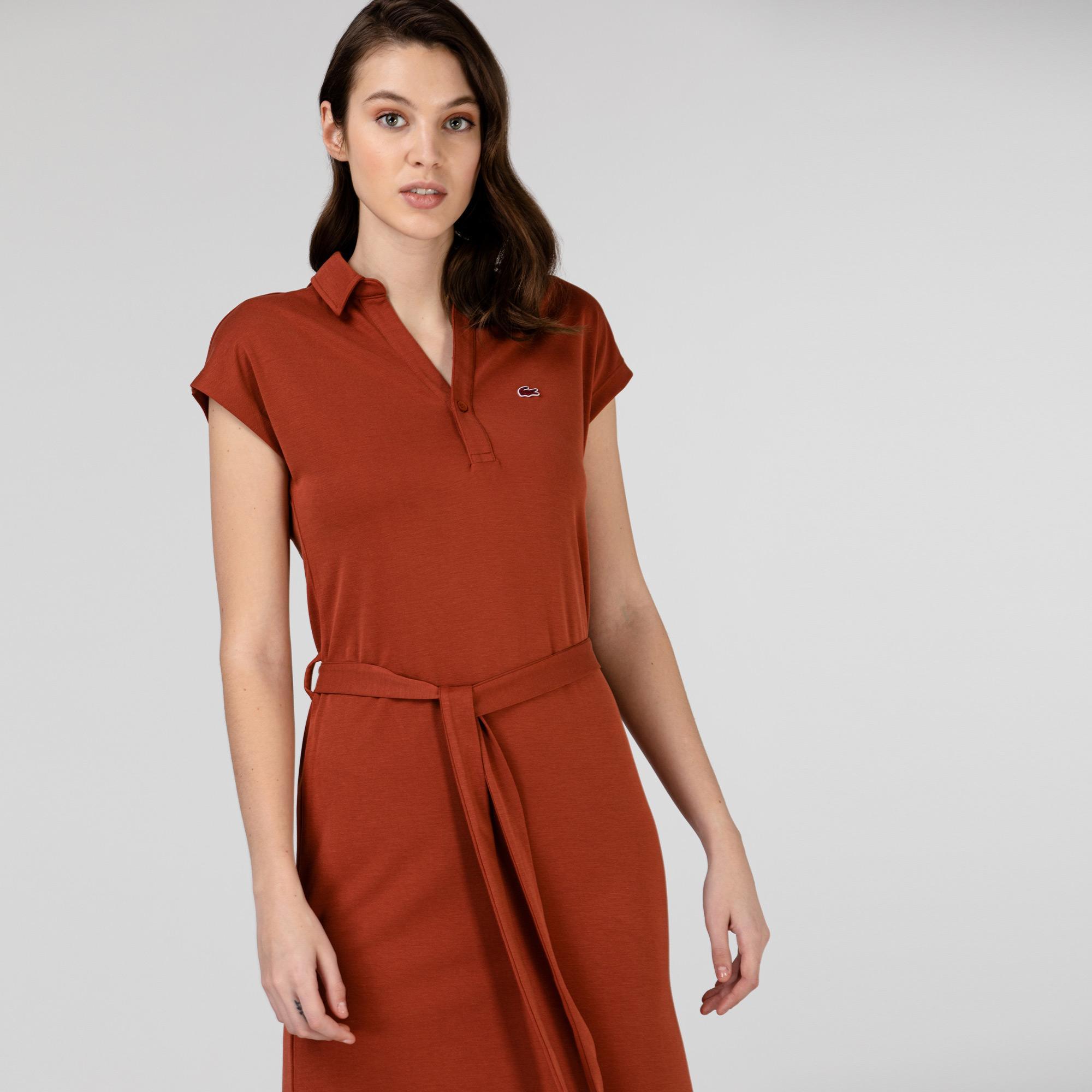 Lacoste Kadın Kısa Kollu Kiremit Elbise