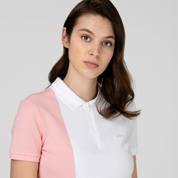 Lacoste Kadın Fermuarlı Yaka Renk Bloklu Beyaz Polo
