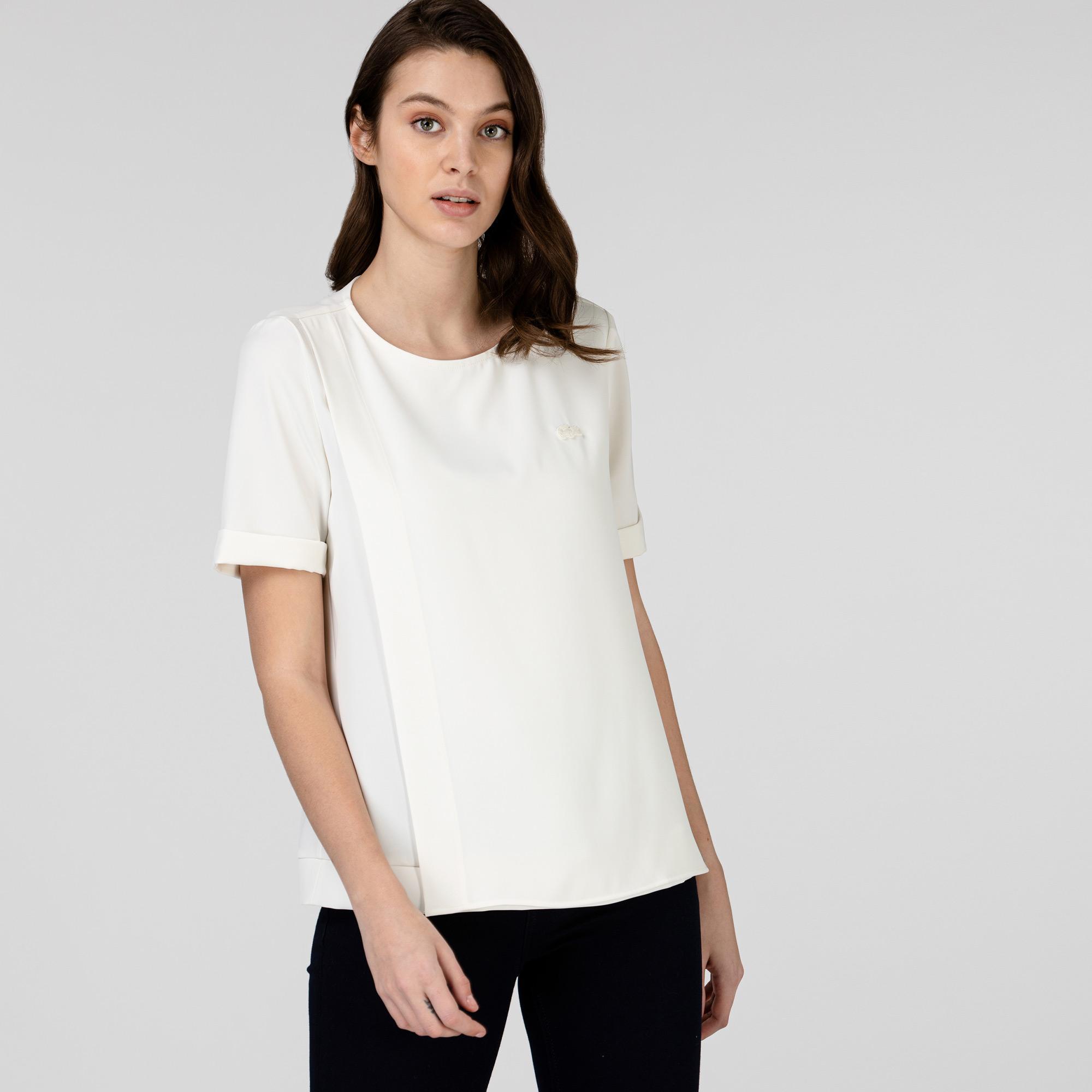Lacoste Kadın Kısa Kollu Bisiklet Yaka Beyaz Bluz