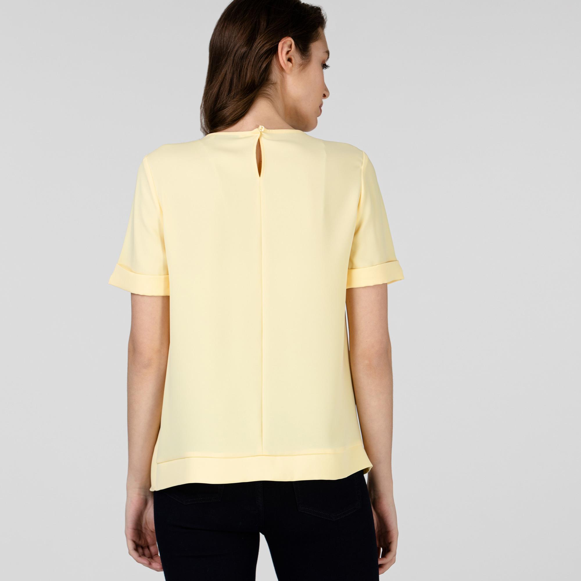 Lacoste Kadın Kısa Kollu Bisiklet Yaka Sarı Bluz