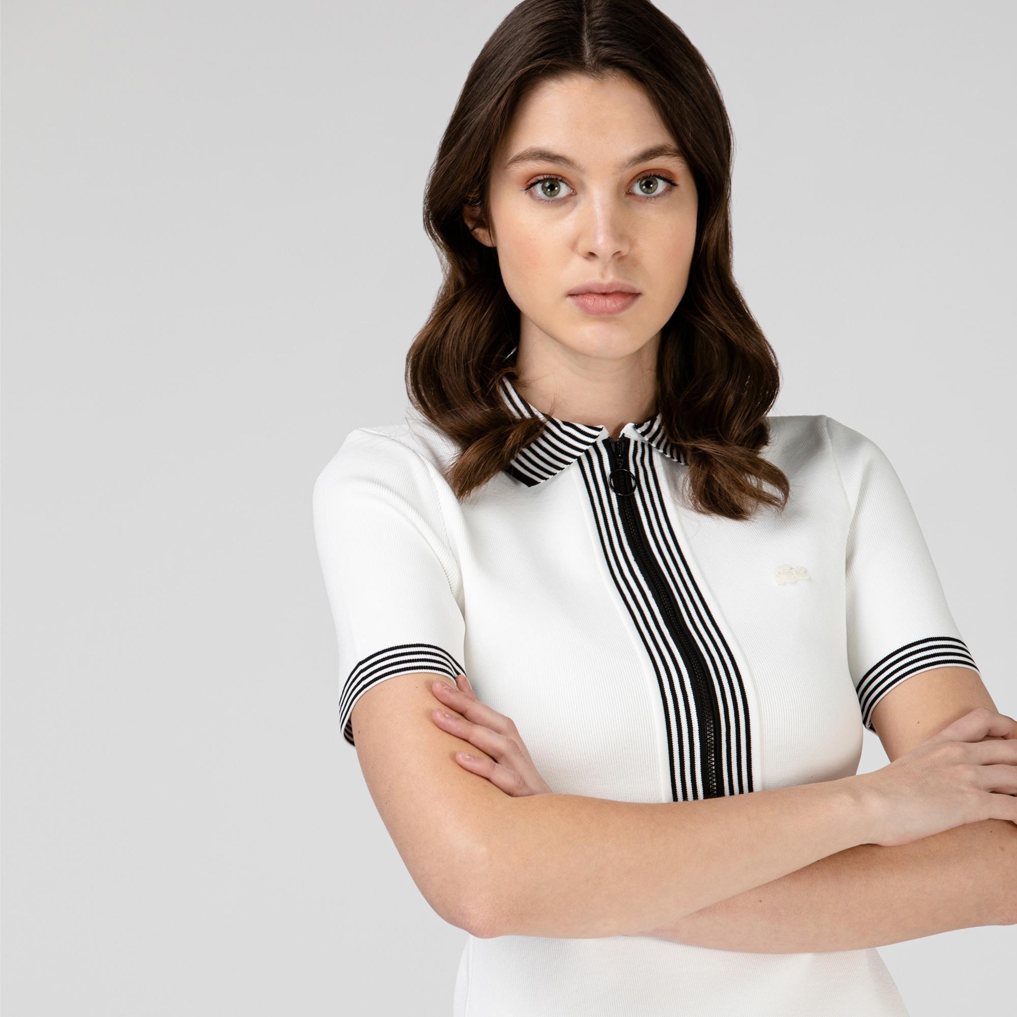 Lacoste Kadın Kısa Kollu Fermuarlı Beyaz Elbise