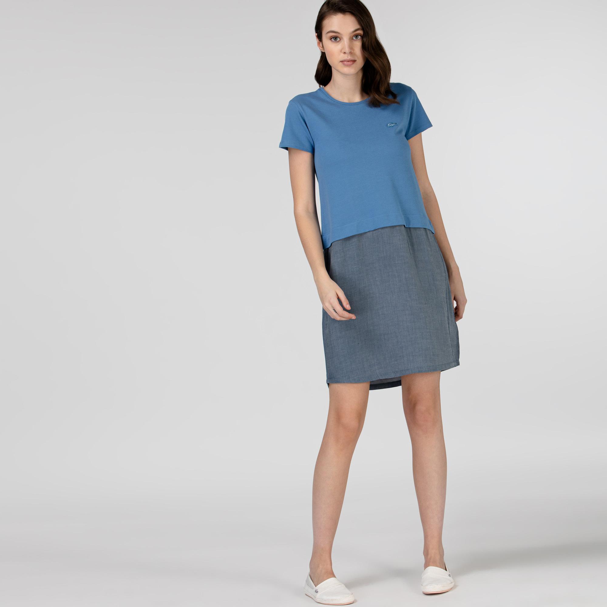Lacoste Kadın Kısa Kollu Bisiklet Yaka Renk Bloklu Mavi Elbise
