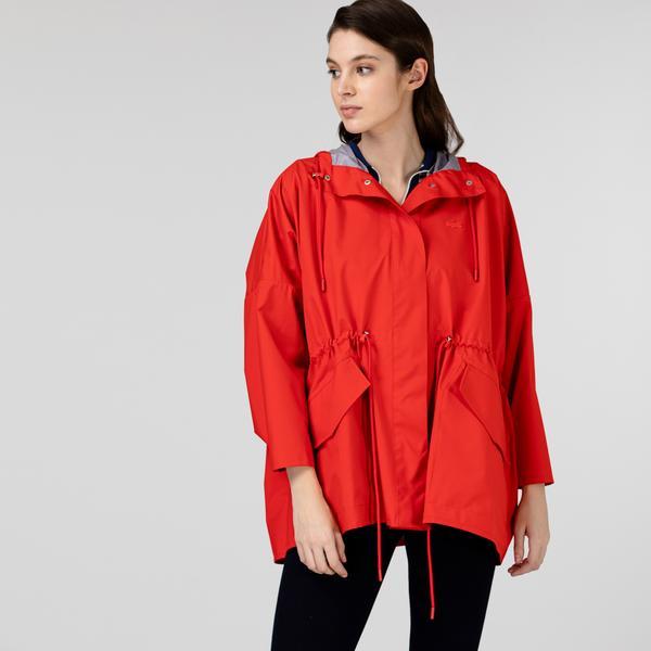 Lacoste Kadın Kapüşonlu Katlanabilir Kırmızı Mont
