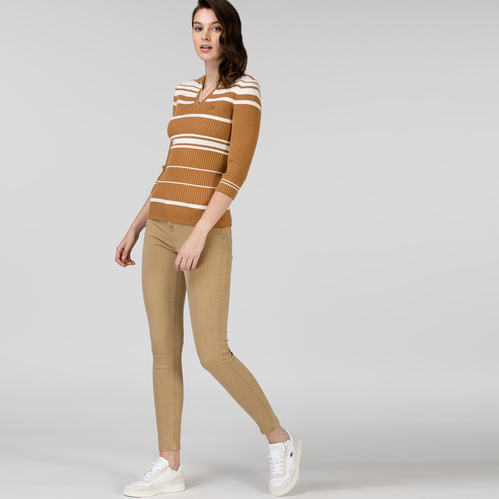 Lacoste Kadın Denim Bej Pantolon