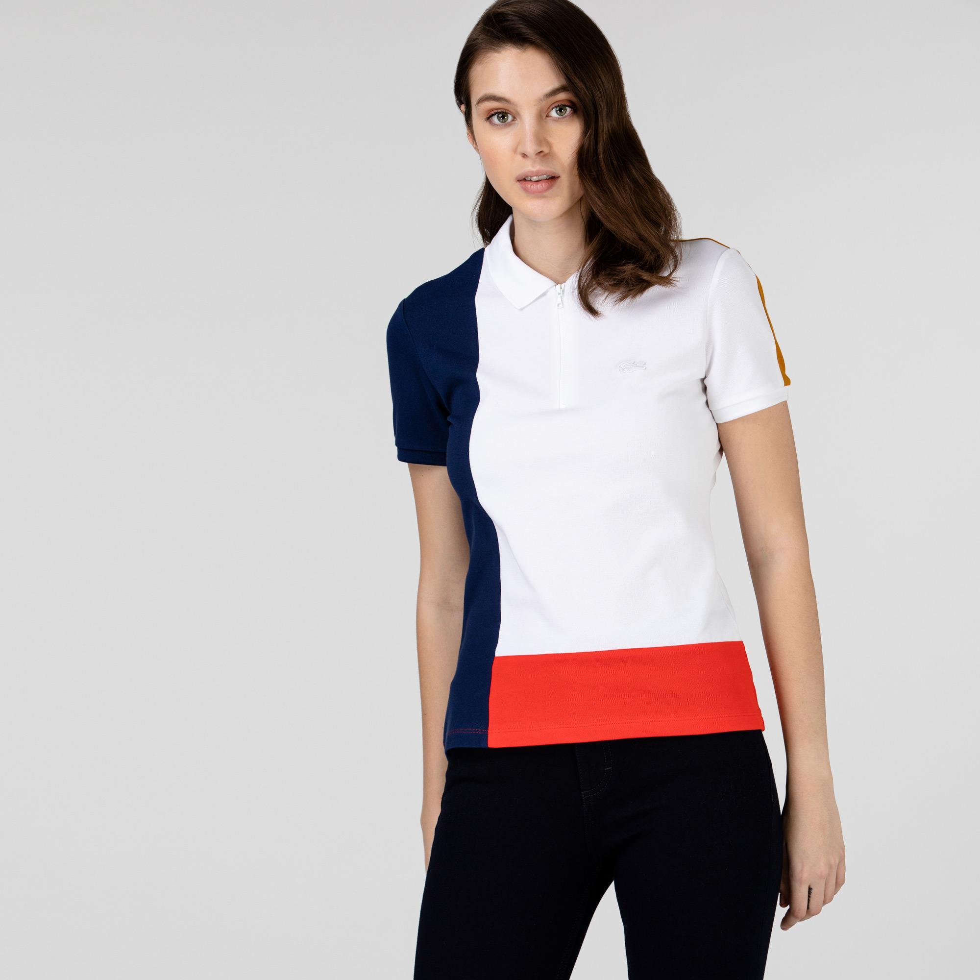 Lacoste Kadın Fermuarlı Yaka Renk Bloklu Renkli Polo