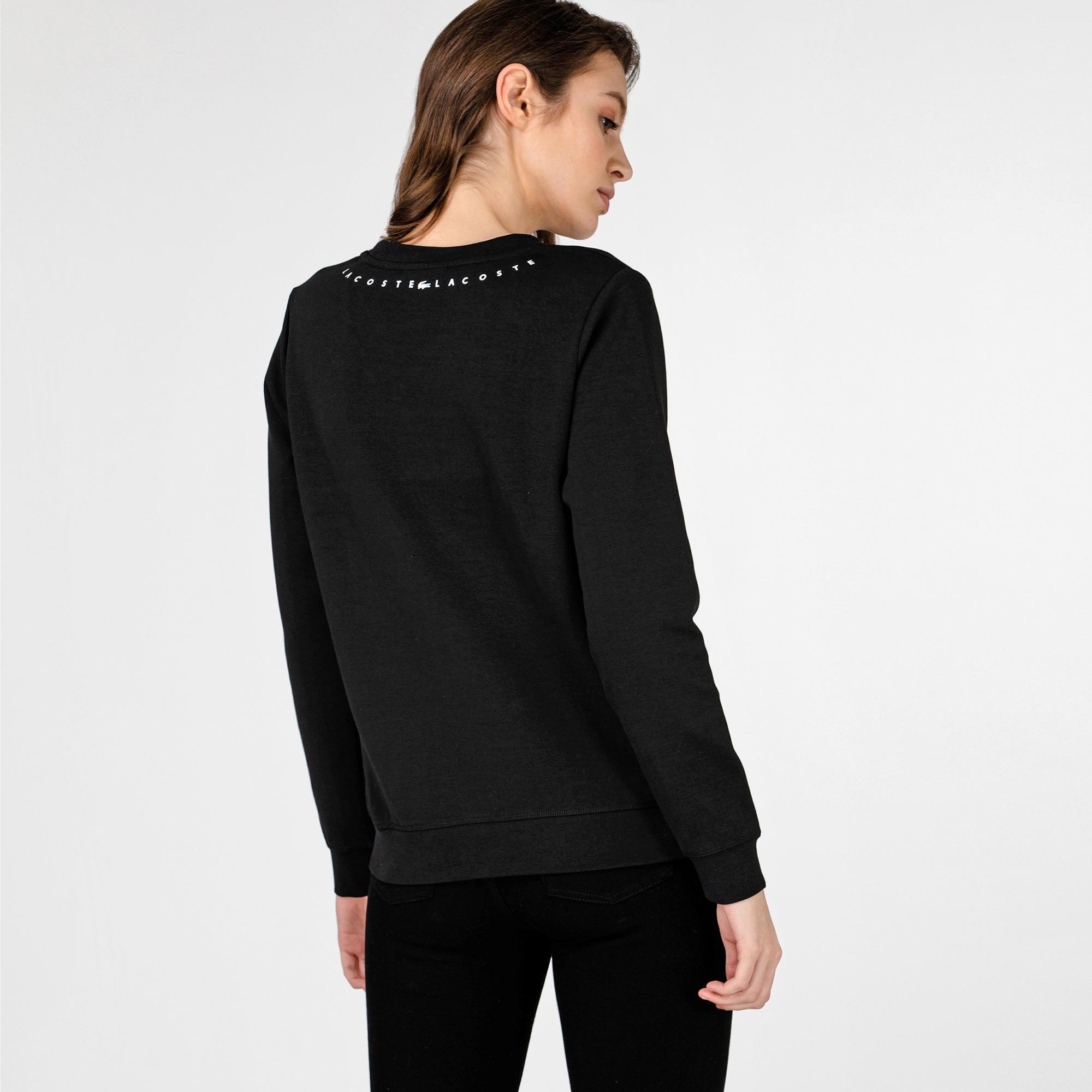 Lacoste Kadın Bisiklet Yaka Baskılı Siyah Sweatshirt