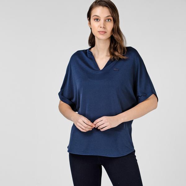 Lacoste Kadın Loose Fit V Yaka Lacivert T-Shirt