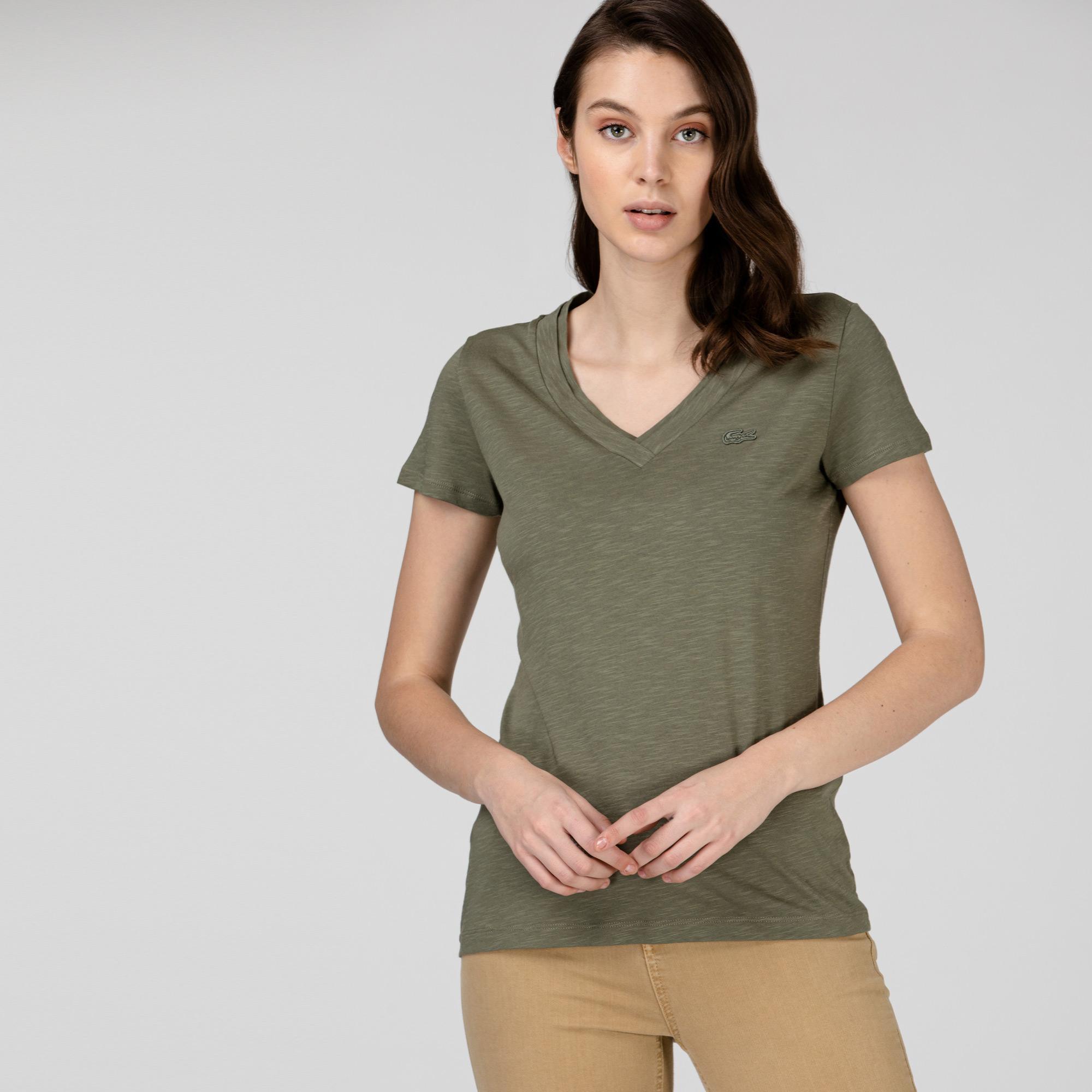 Lacoste Kadın Slim Fit V Yaka Haki T-Shirt
