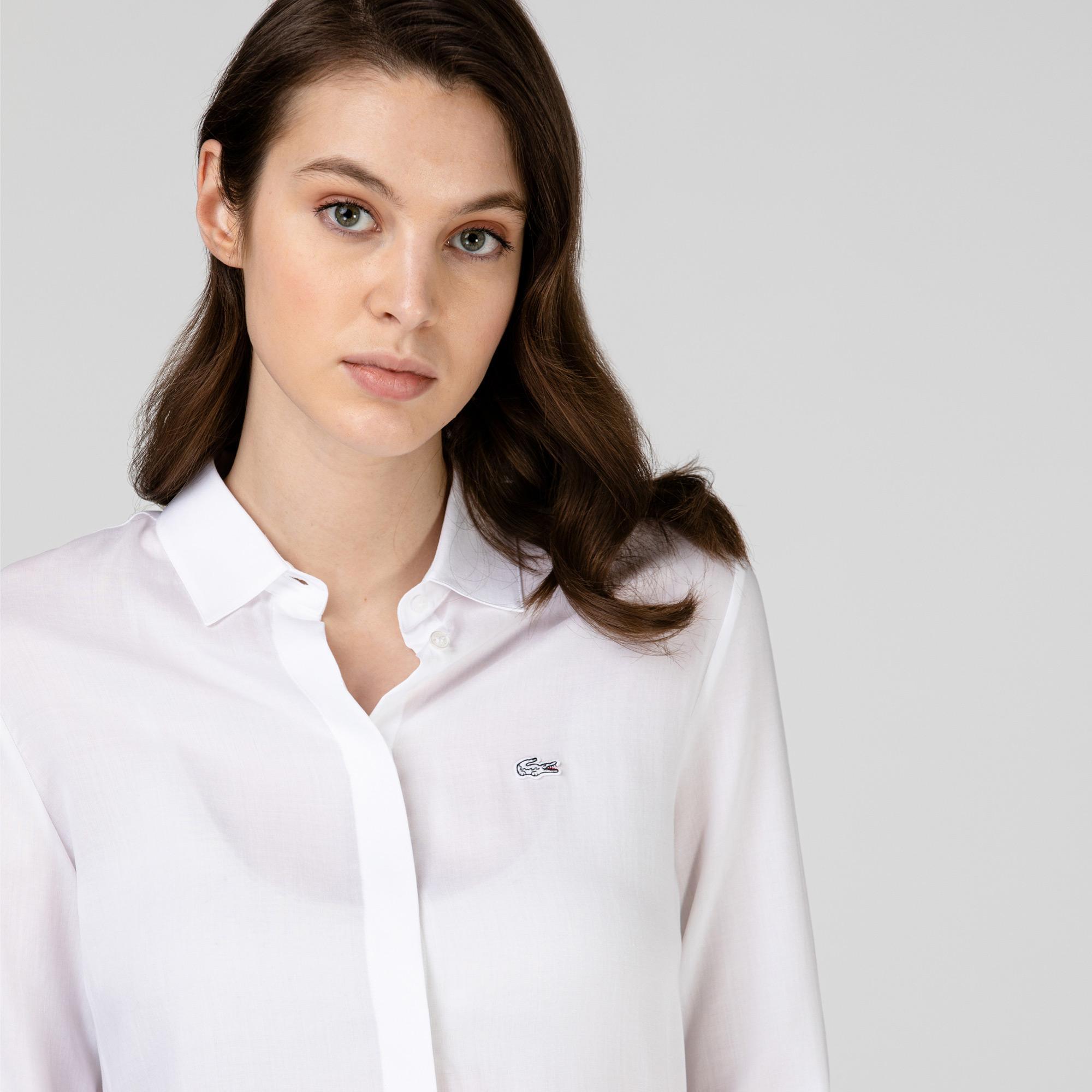 Lacoste Kadın Regular Fit Beyaz Gömlek