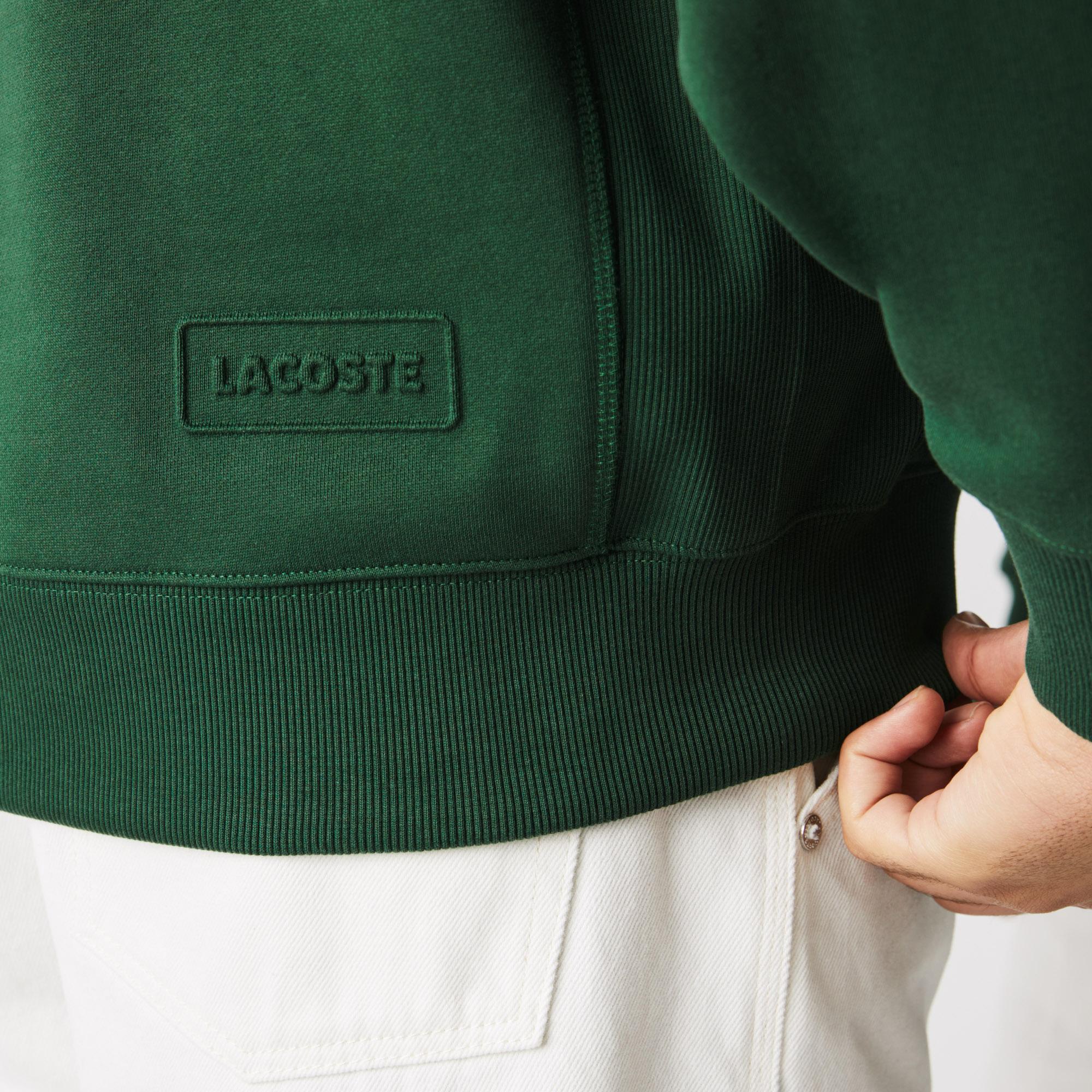 Lacoste L!ve Unisex Loose Fit Bisiklet Yaka Yeşil Sweatshirt